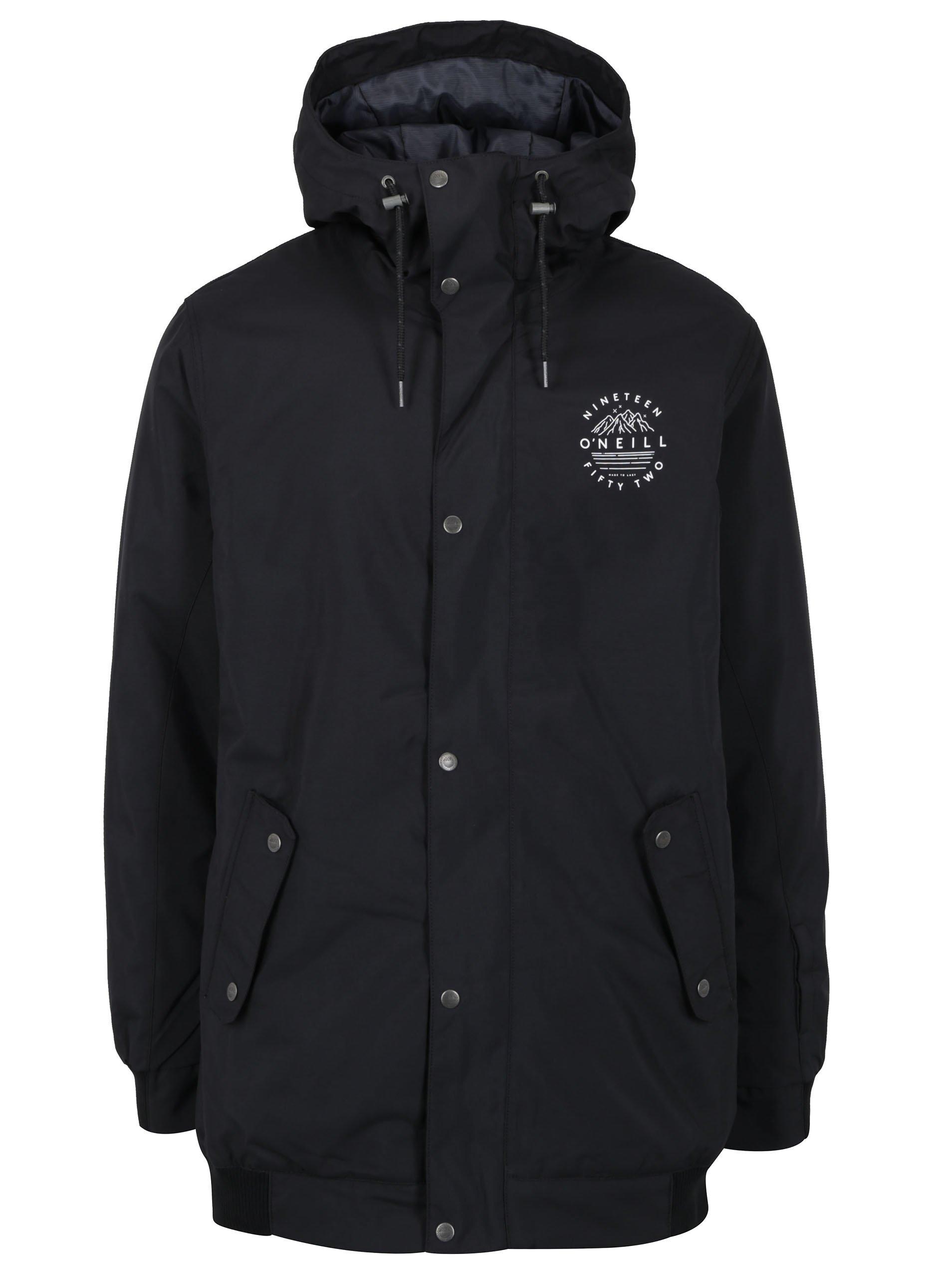 Čierna vodovzdorná funkčná bunda s potlačou na chrbte O'Neill