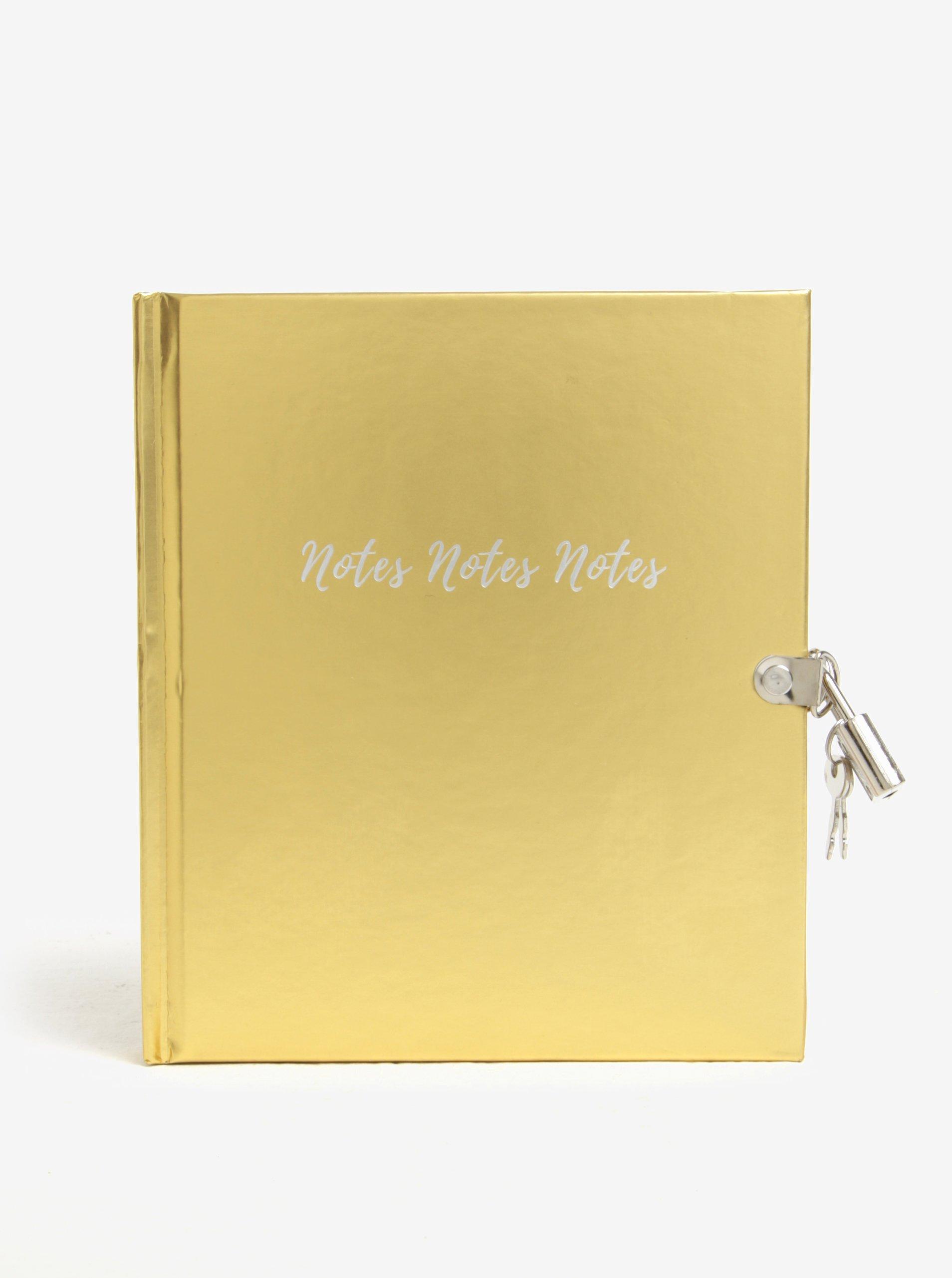 Zápisník ve zlaté barvě s klíčem a zámkem CGB