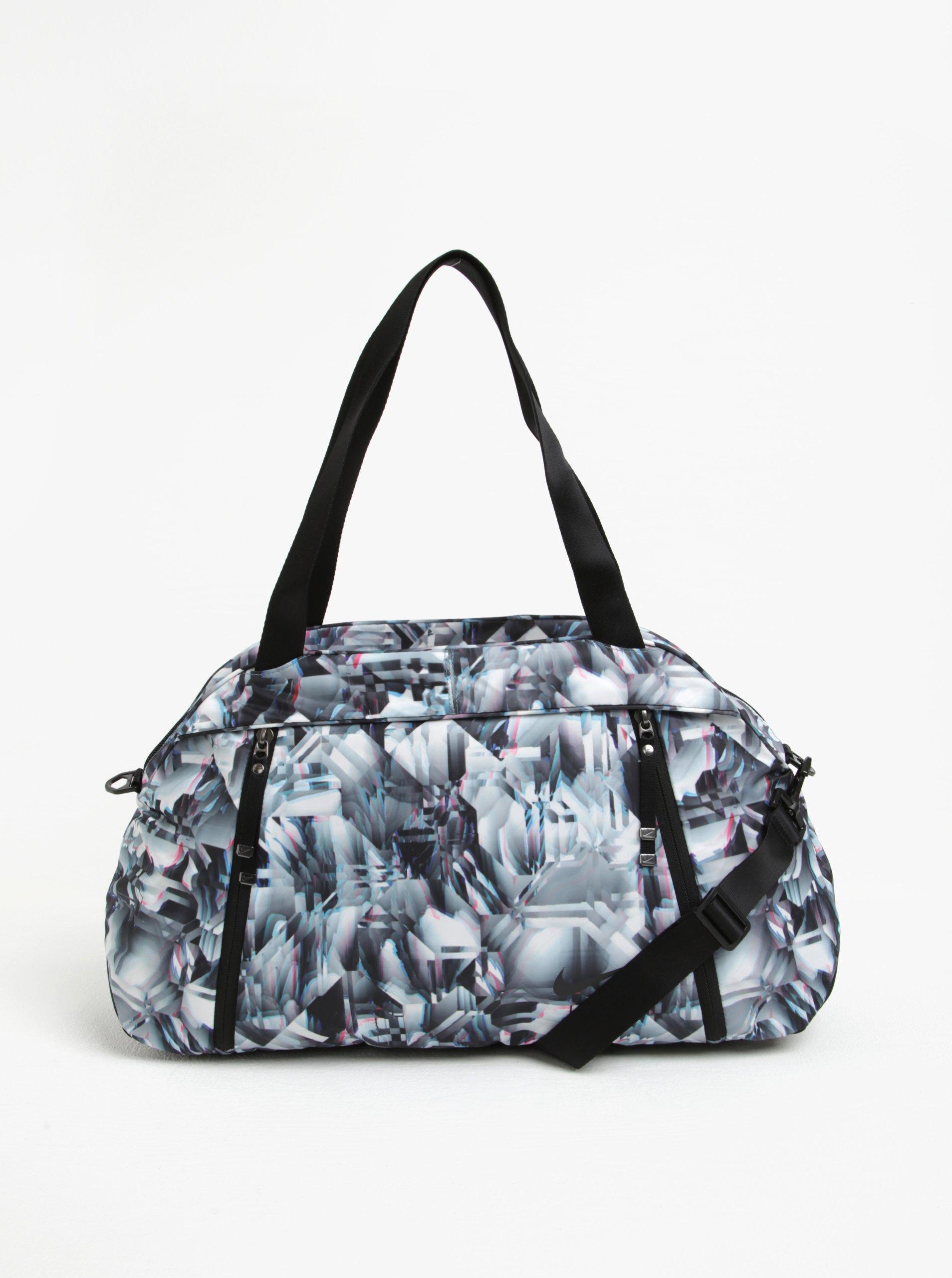Černo-bílá dámská vzorovaná sportovní taška Nike 23 l