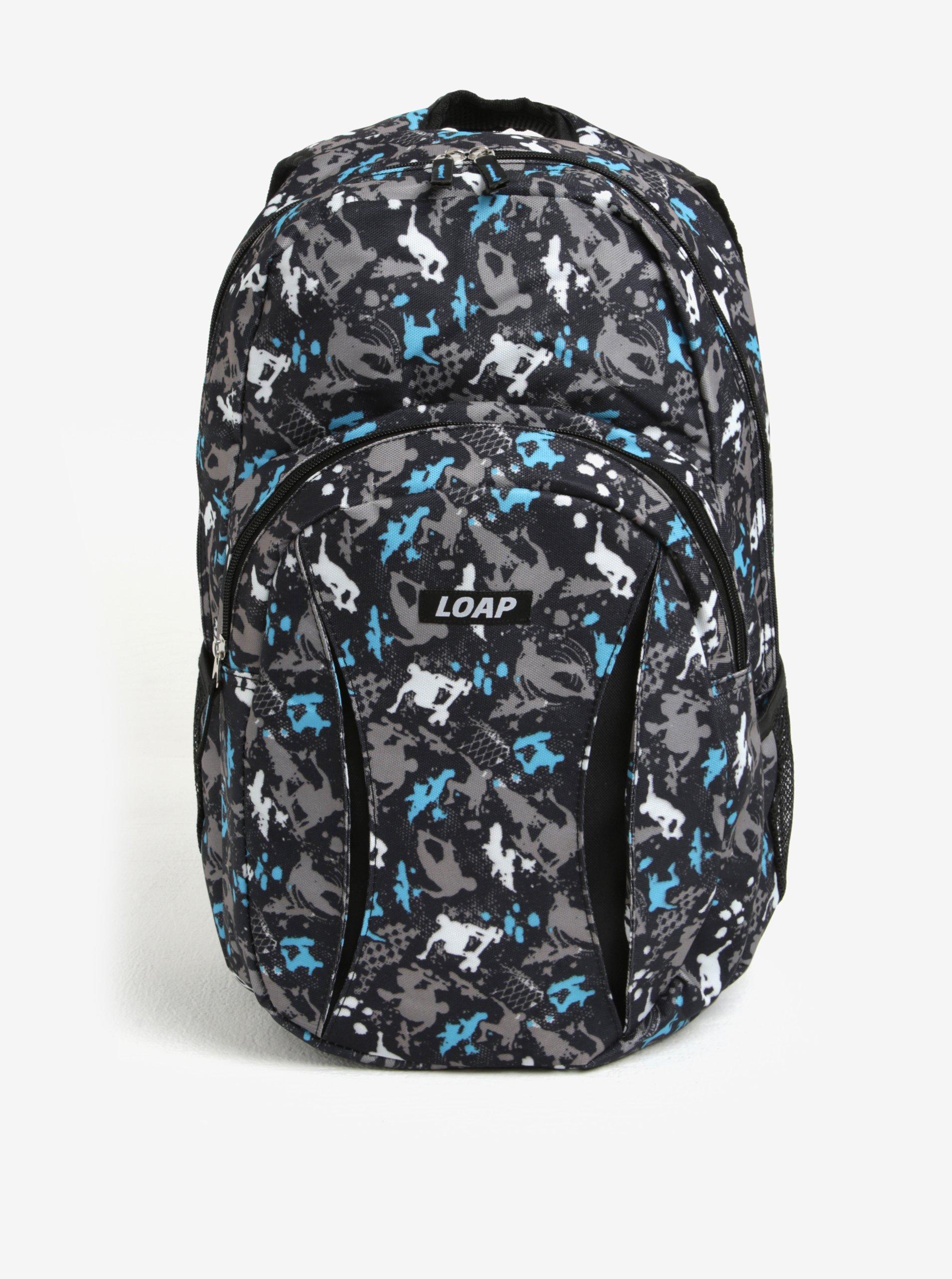 Sivo–modrý vzorovaný batoh LOAP Asso 20 l