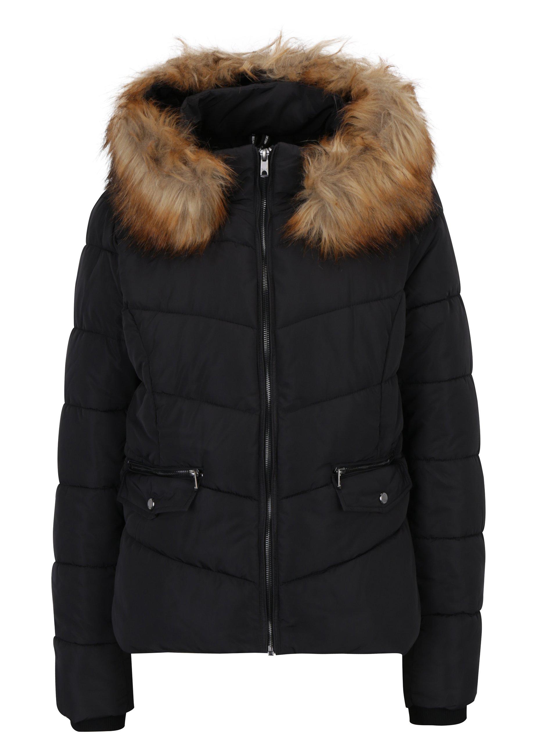 Černá prošívaná bunda s kapucí ONLY Sanna