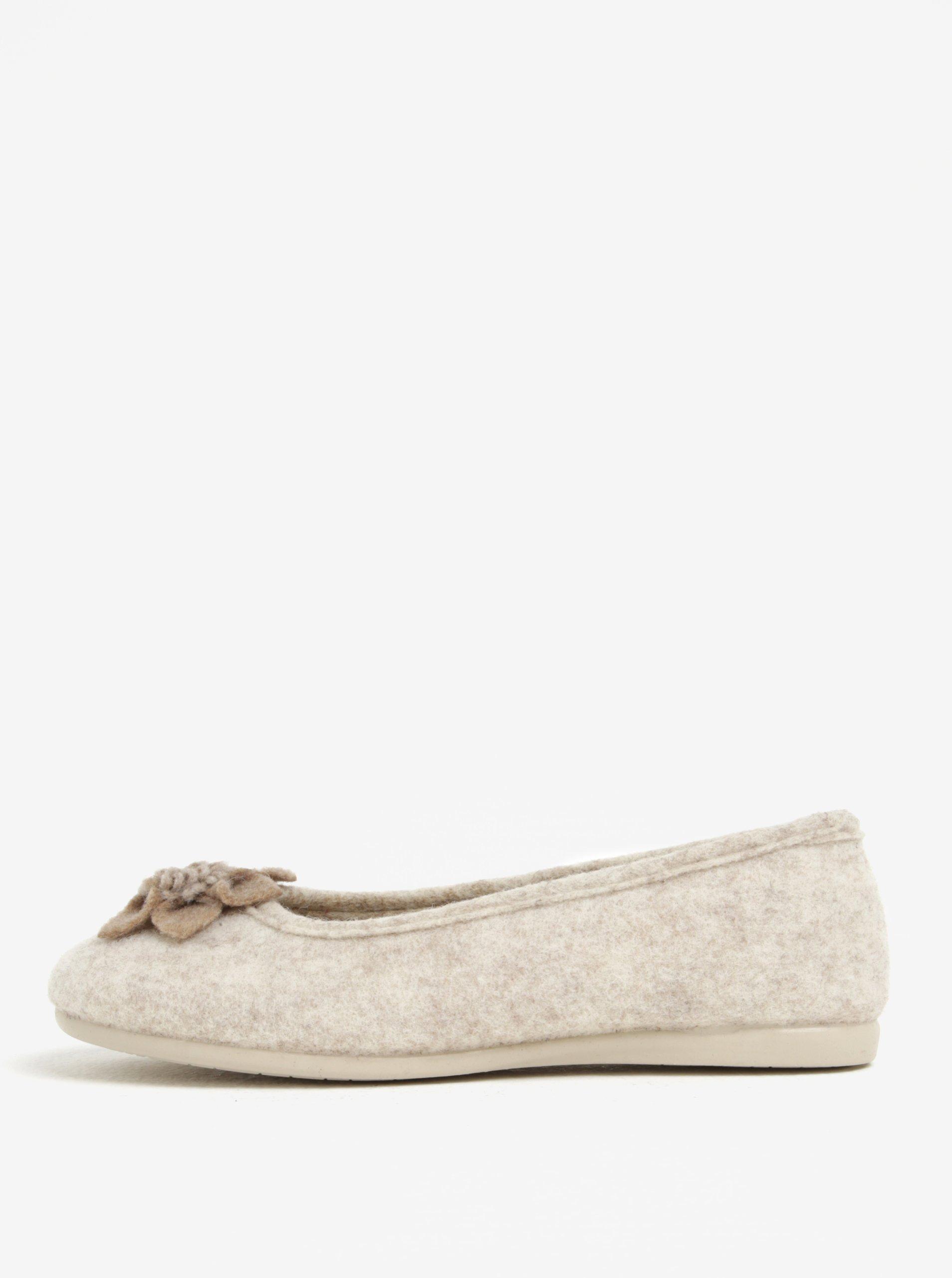 Béžové dámské papuče s aplikací OJJU