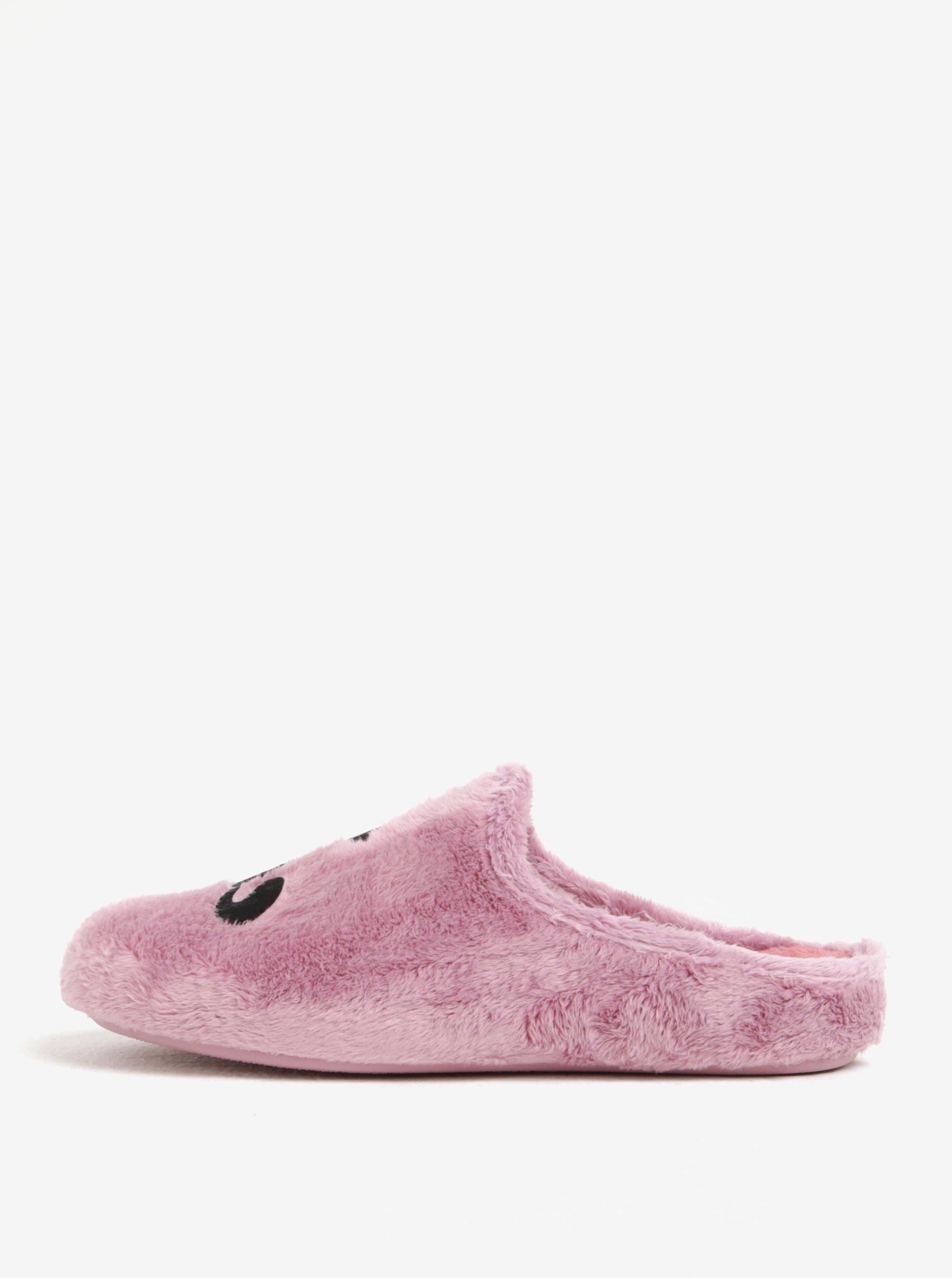 Růžové dámské papuče s motivem kočky OJJU