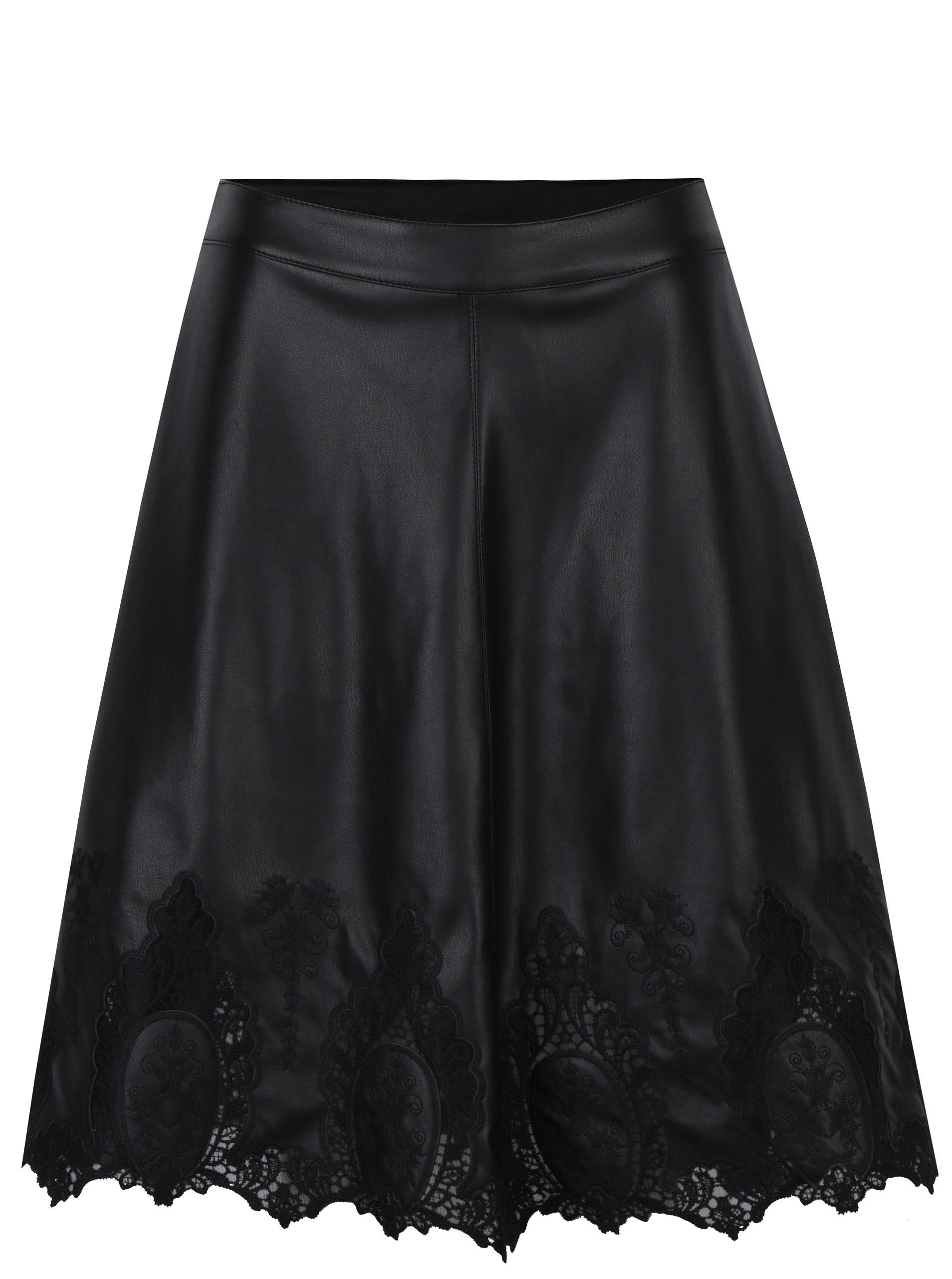 Černá koženková sukně s krajkovými detaily ONLY Macy