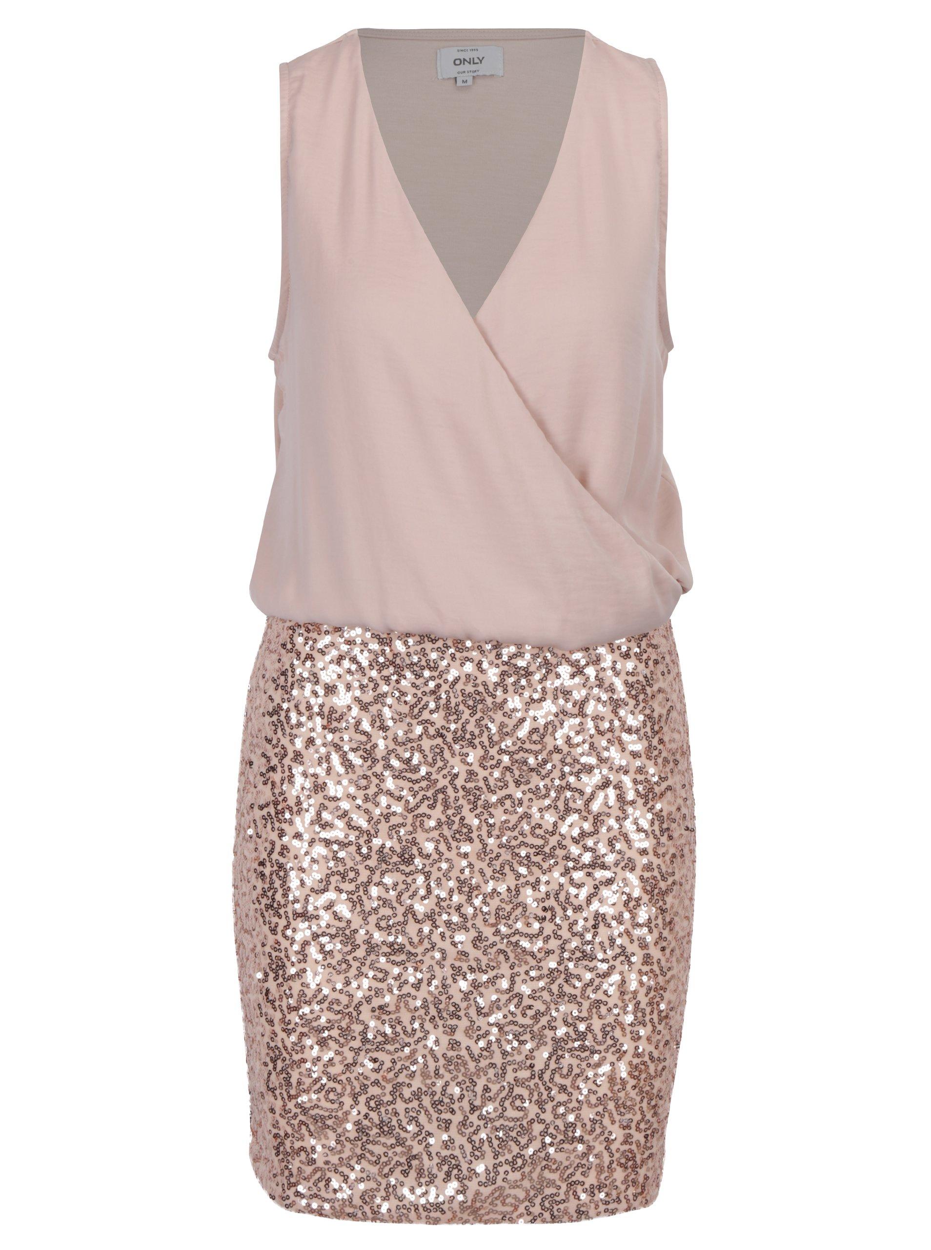 Svetloružové šaty s prekladaným topom a sukňou s flitrami ONLY Zille