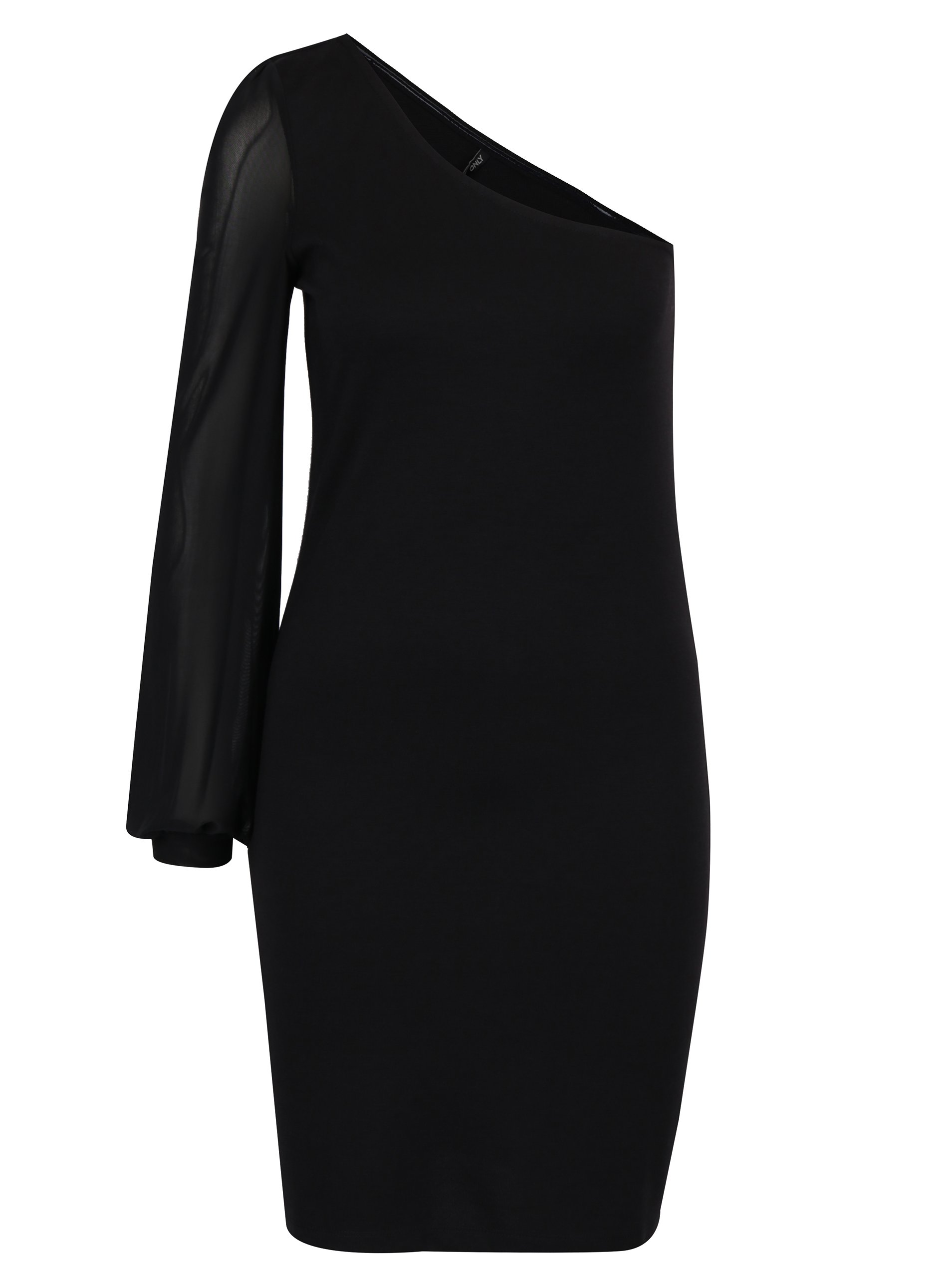 Černé asymetrické šaty s průsvitným rukávem ONLY Victoria