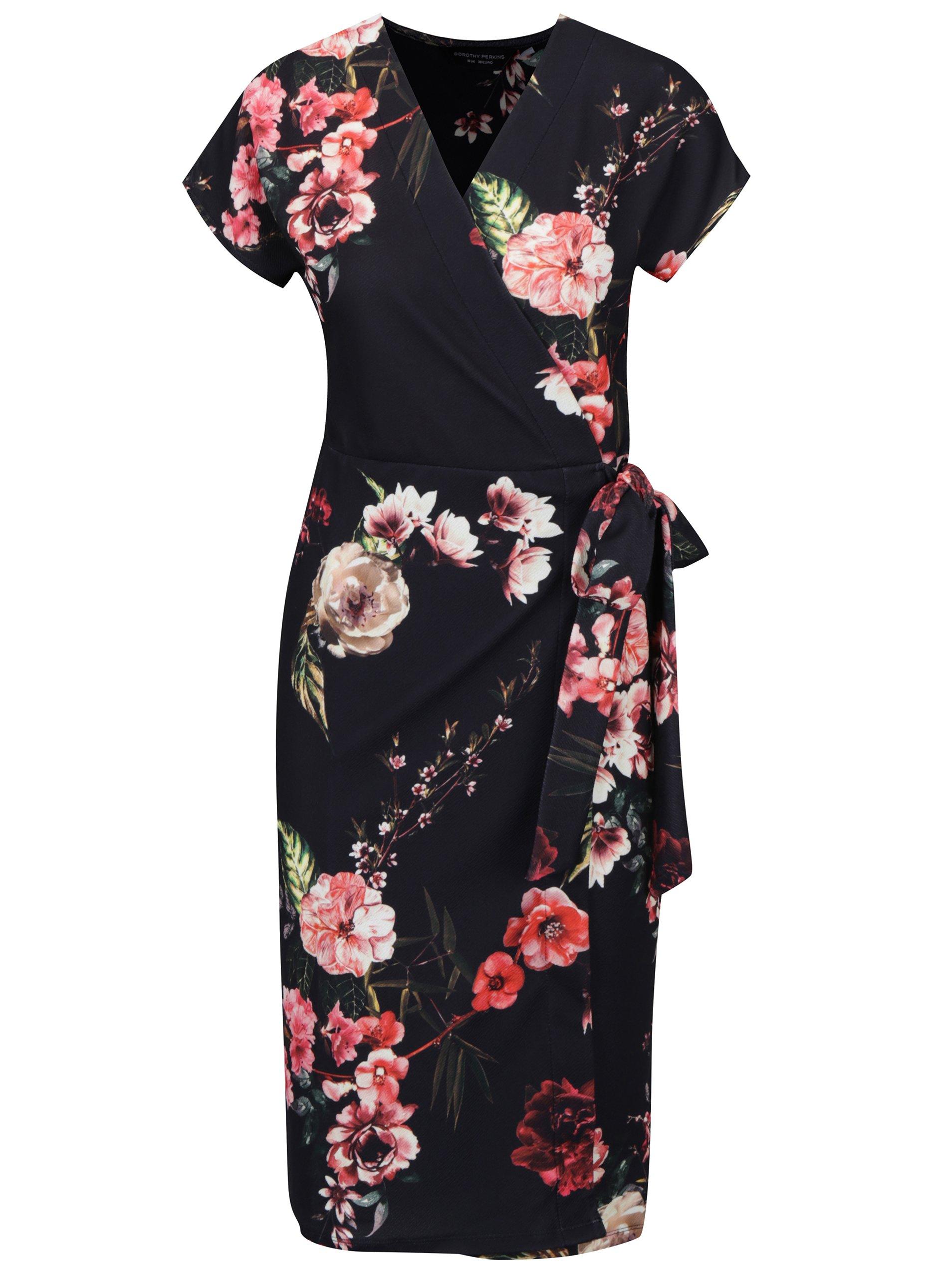 černé květované zavinovací šaty Dorothy Perkins