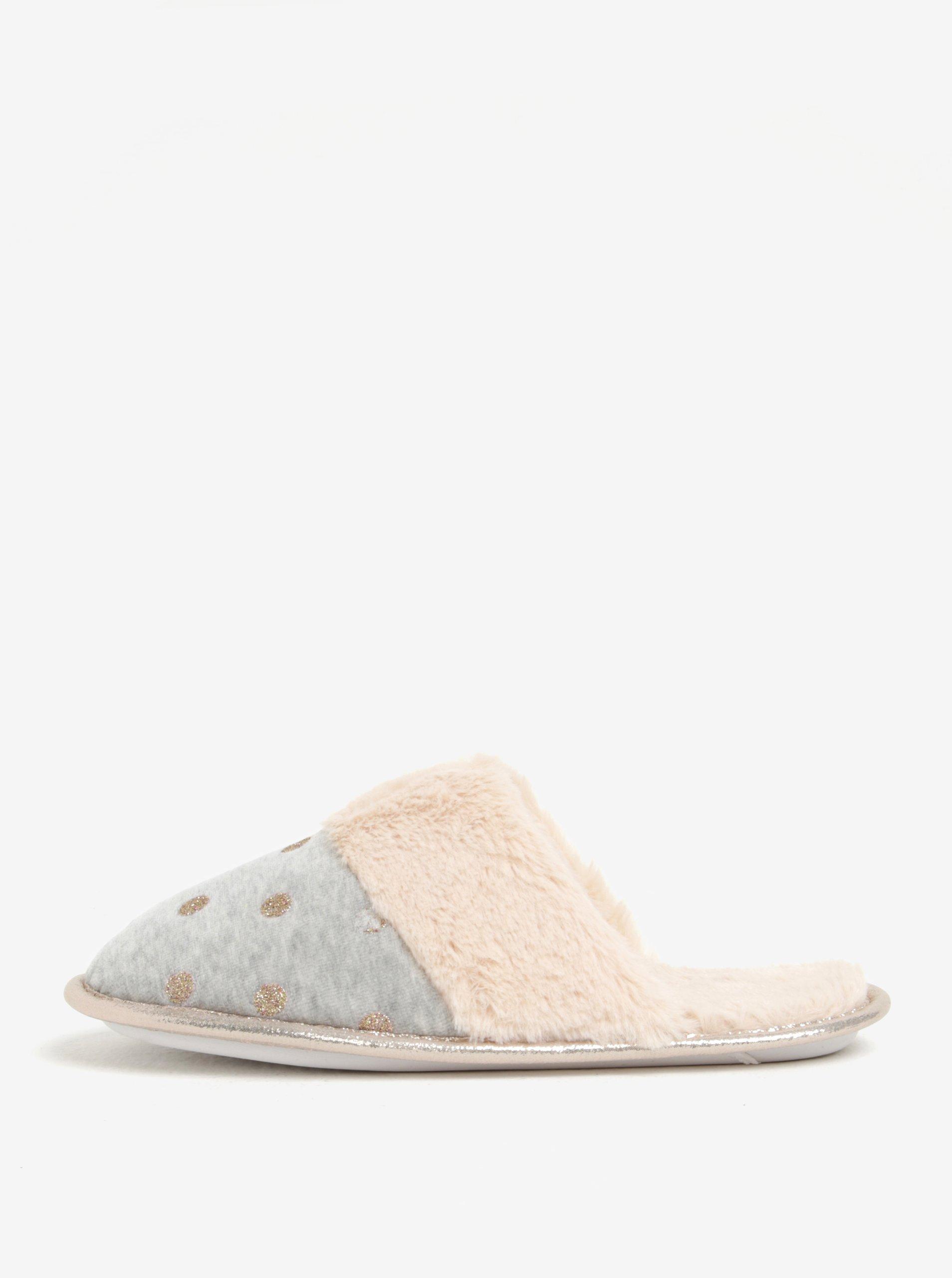 Šedé třpytivé papuče Dorothy Perkins