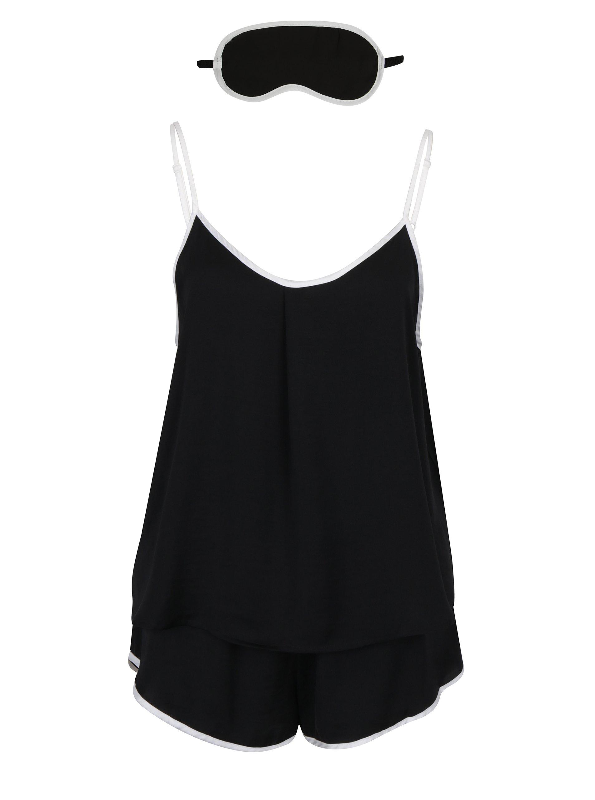 Černý set pyžama s bílým lemem a masky na spaní DKNY