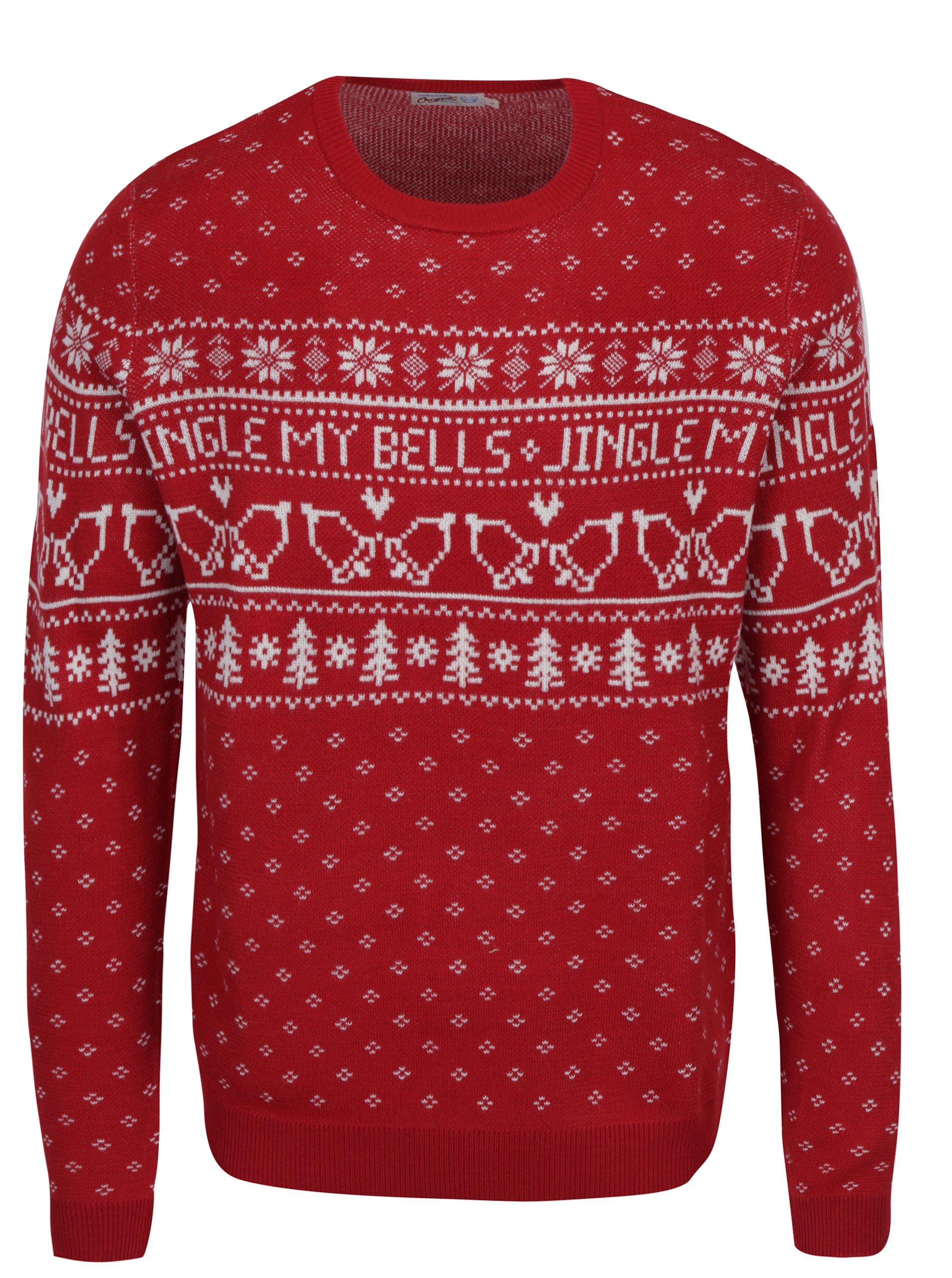Červený svetr s vánočním motivem Jack & Jones Originals Stag Knit