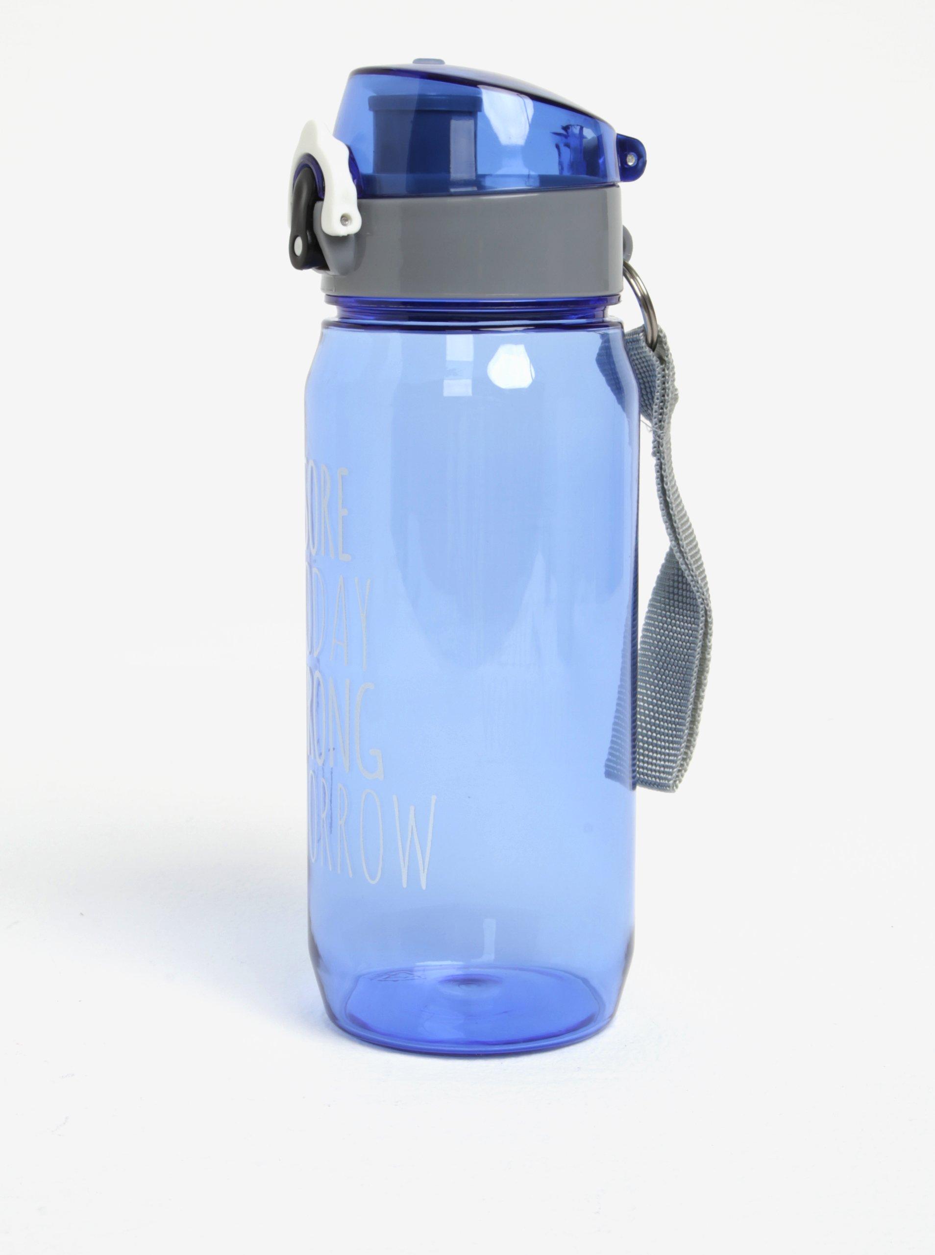 Modrá lahev na vodu s uzamykatelným uzávěrem Loooqs Sore Today 600 ml