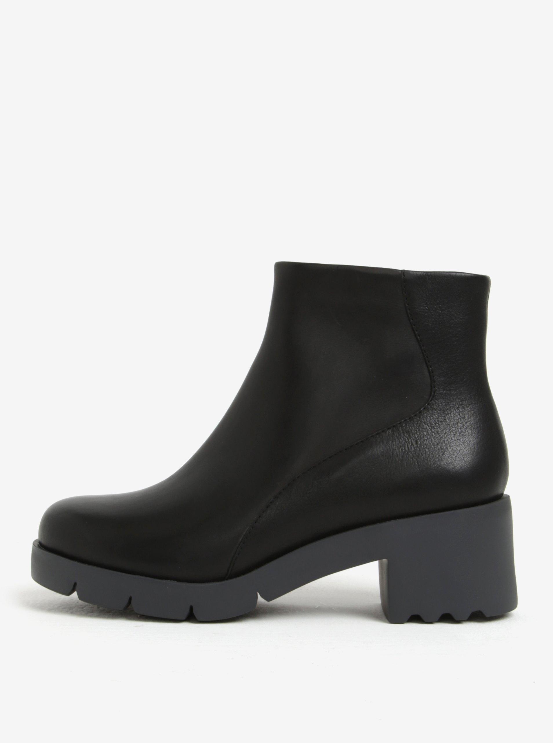 Čierne dámske členkové kožené topánky na podpätku Camper Wanda f6661ee7d37
