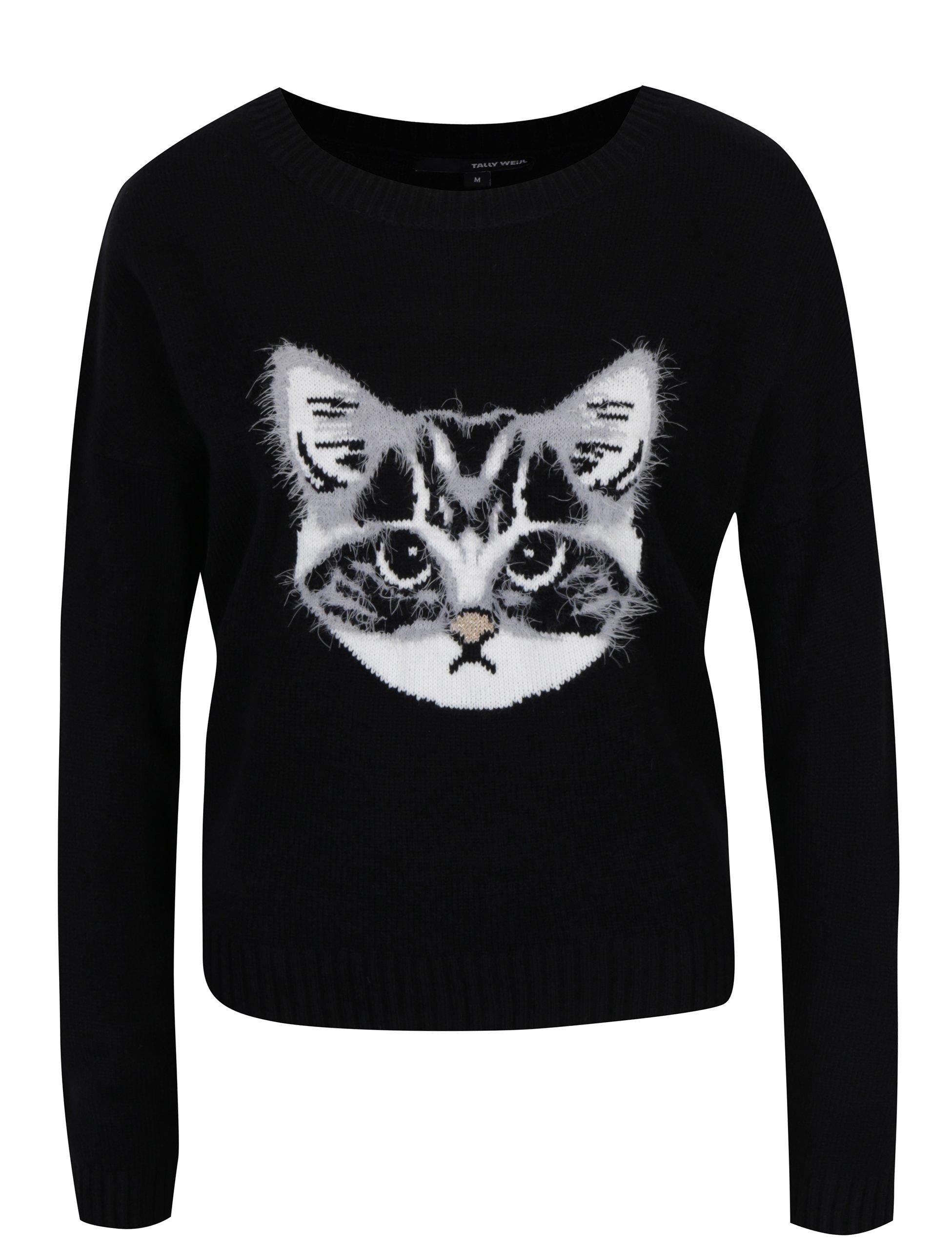 Černý svetr s motivem kočky TALLY WEiJL