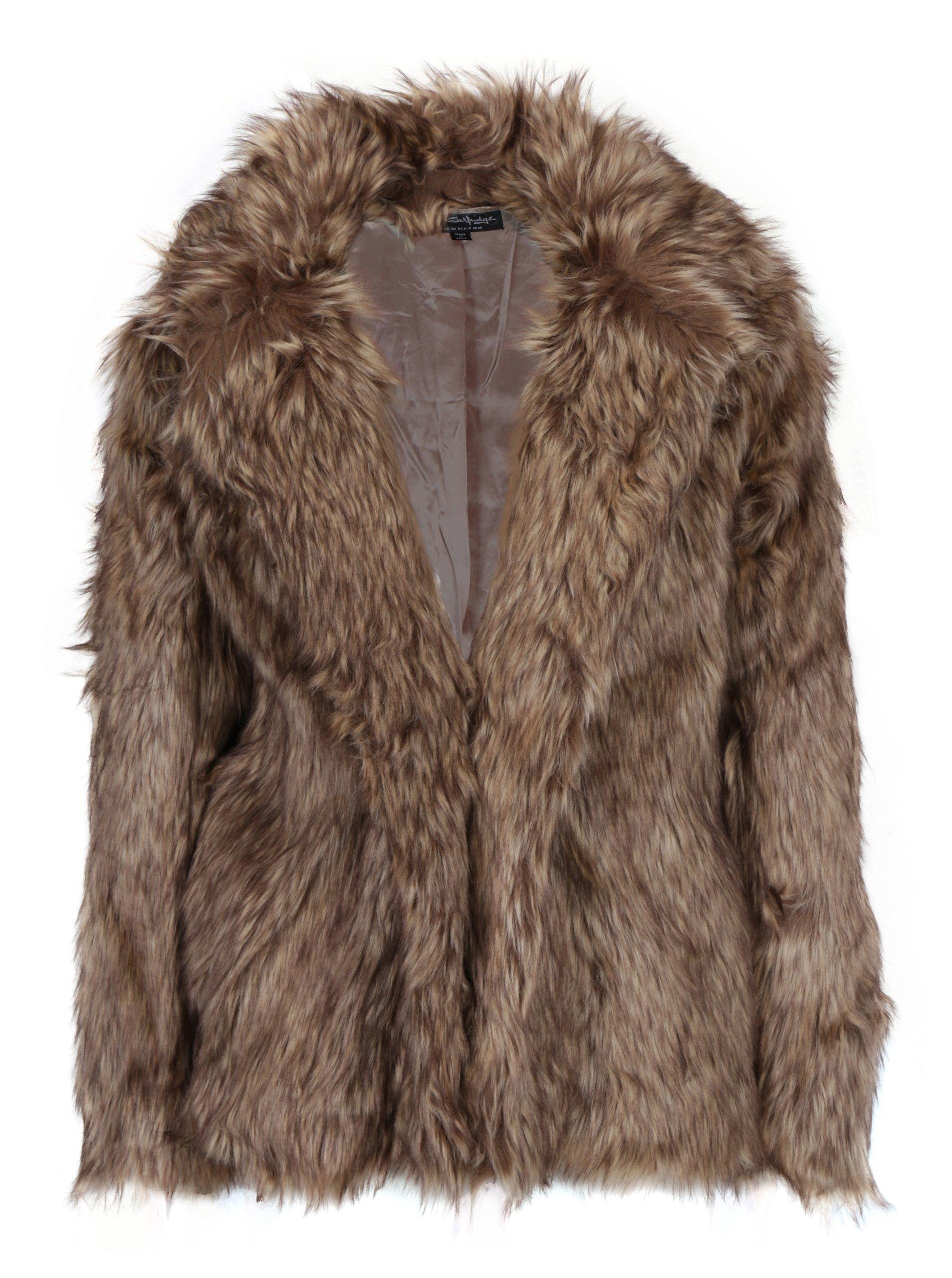Hnědý krátký kabát z umělé kožežiny Miss Selfridge