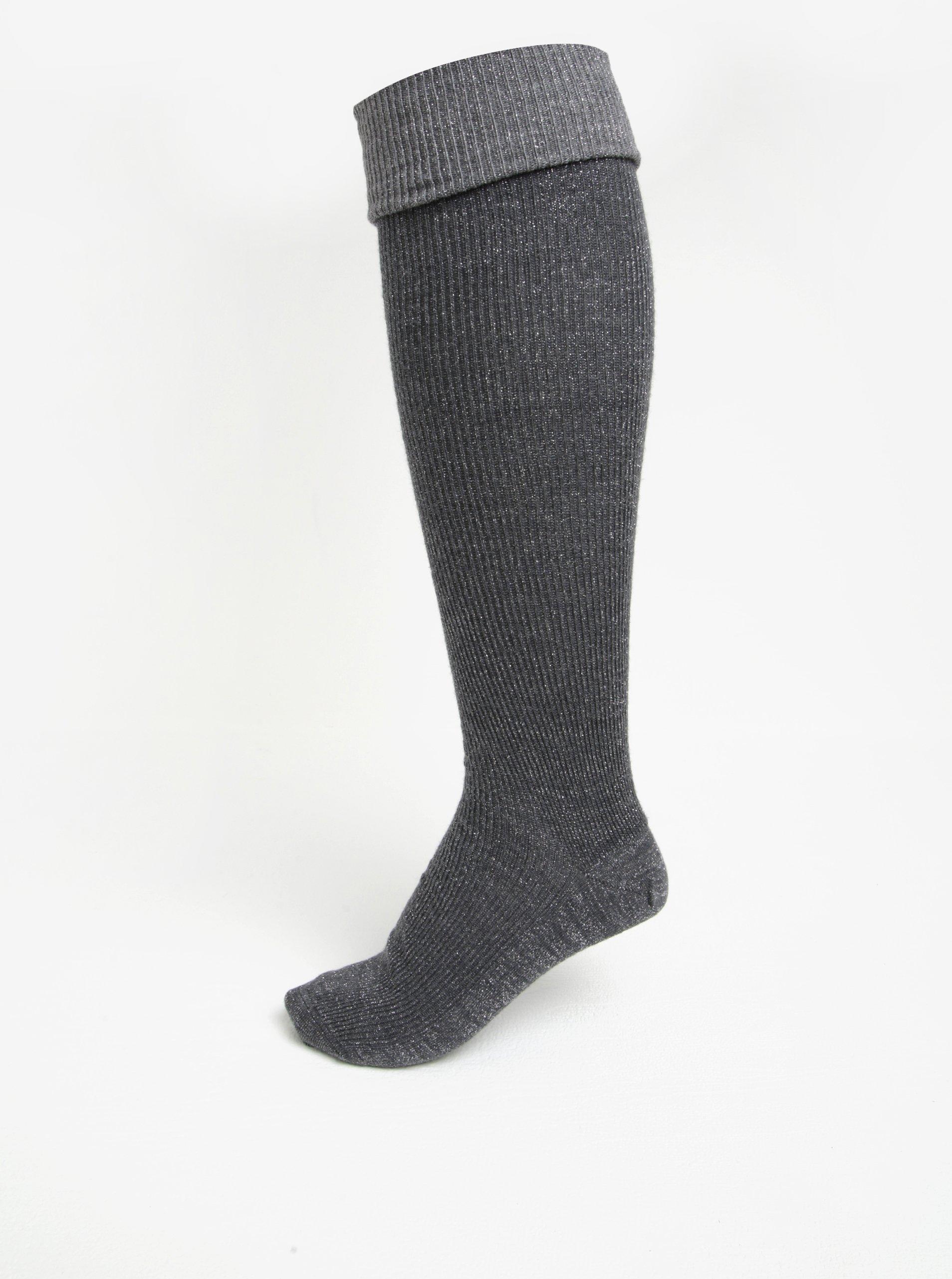 Tmavě šedé dámské vlněné podkolenky/nadkolenky mp Denmark Heidi