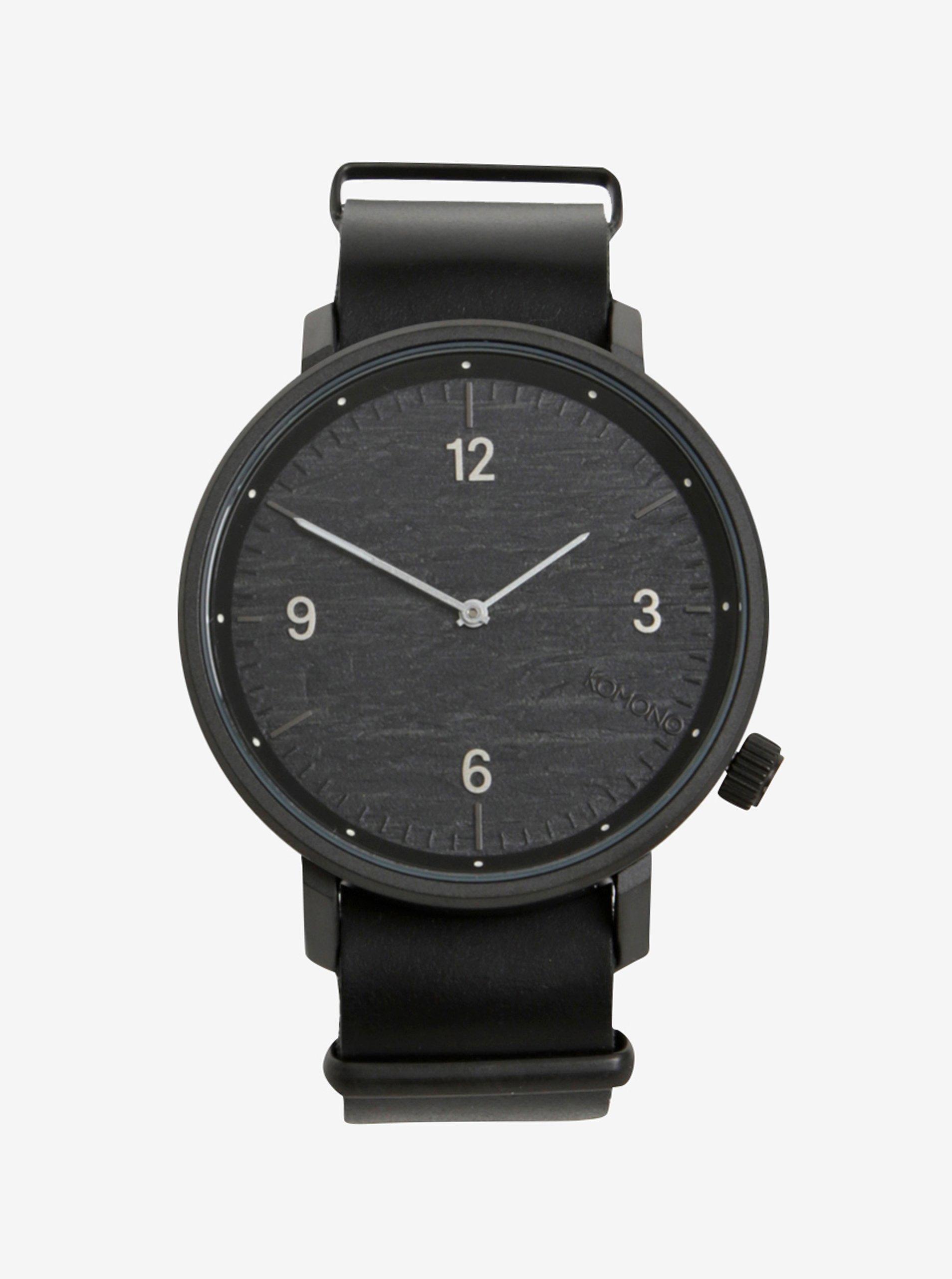 Černé pánské hodinky s koženým páskem Komono Magnnus