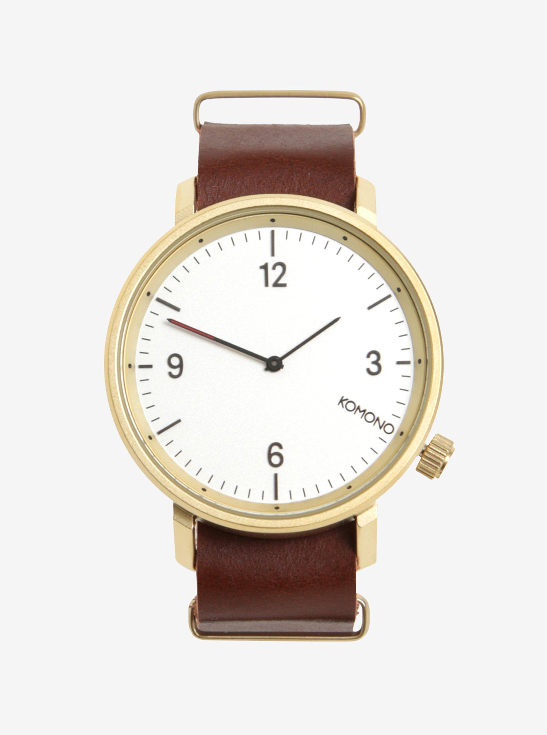 Pánské hodinky ve zlaté barvě s koženým páskem Komono Magnnus