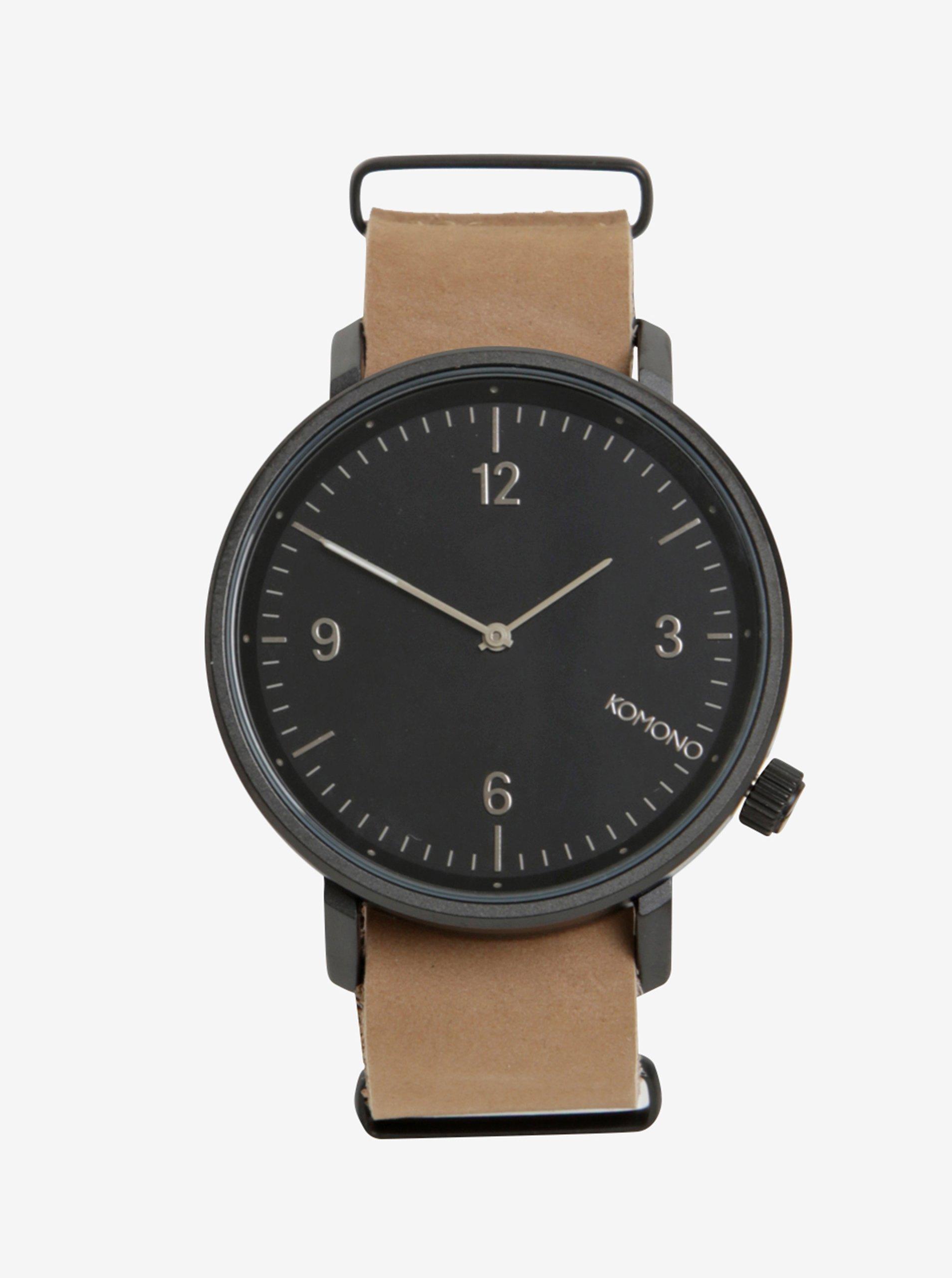 Černé pánské hodinky s béžovým koženým páskem Komono Magnnus