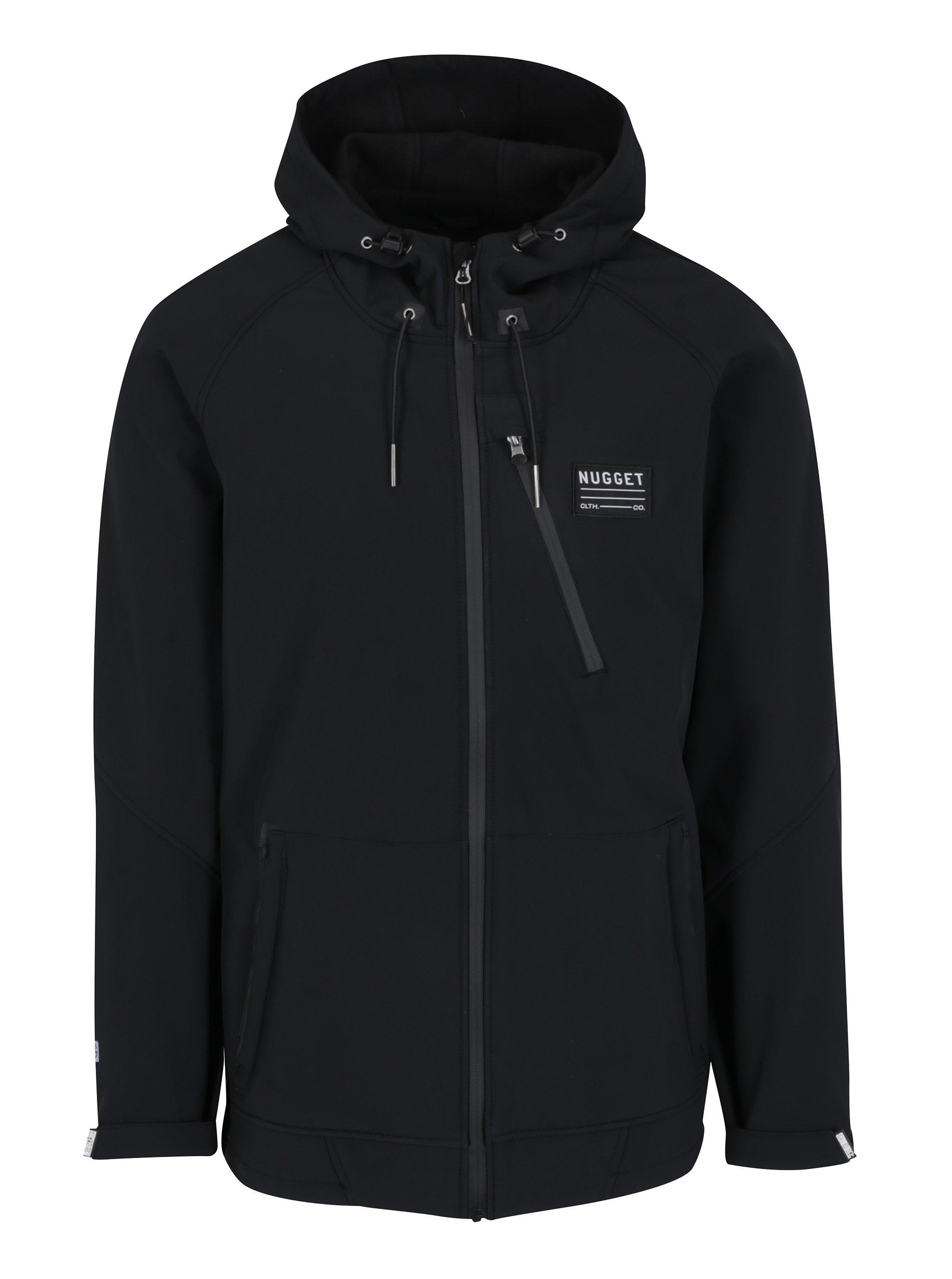 Černá pánská softshellová voděodolná bunda s kapucí NUGGET Nano