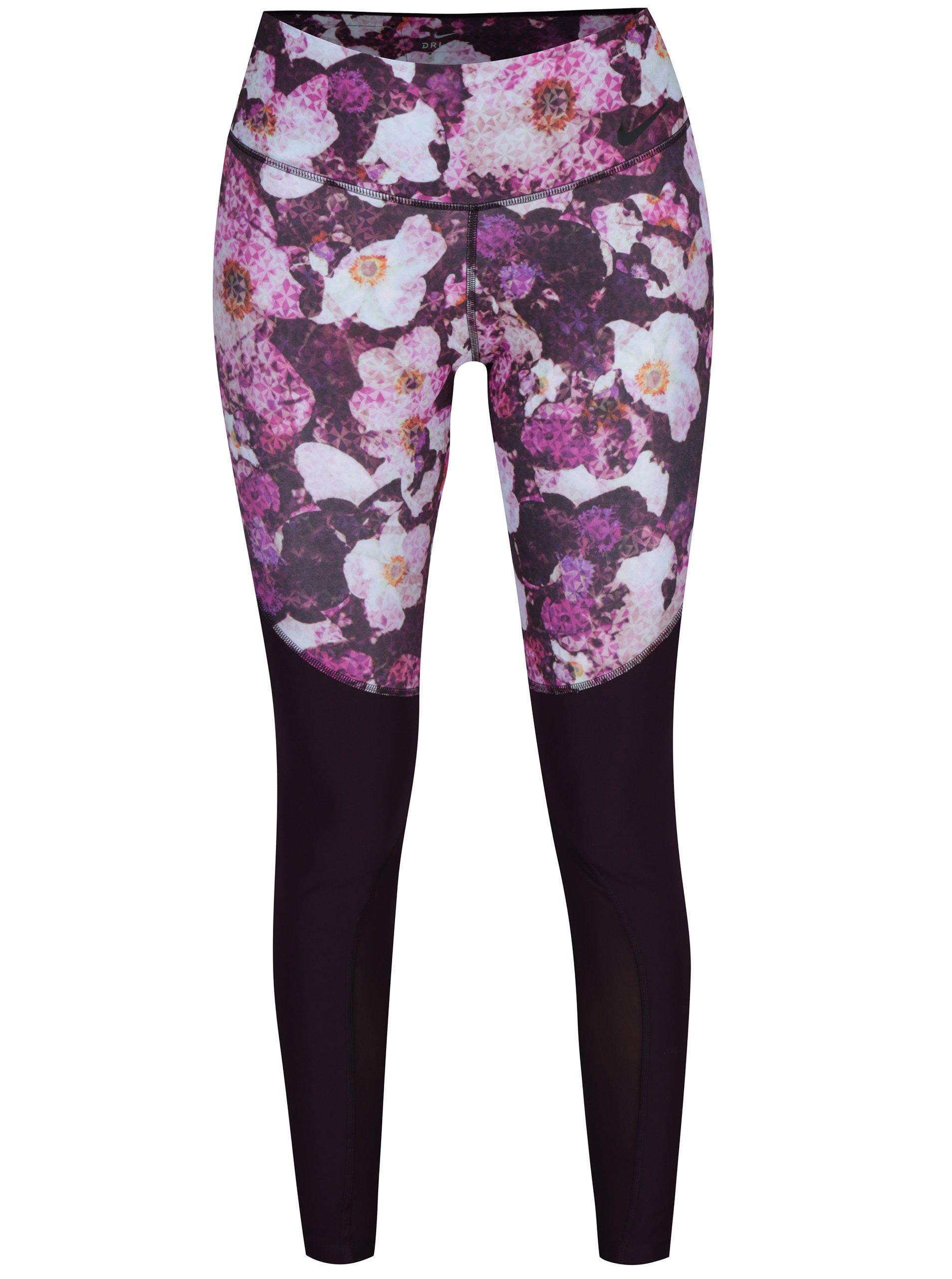 Růžovo-fialové dámské květované funkční legíny Nike – ŽENY   Džíny ... 6b22870881