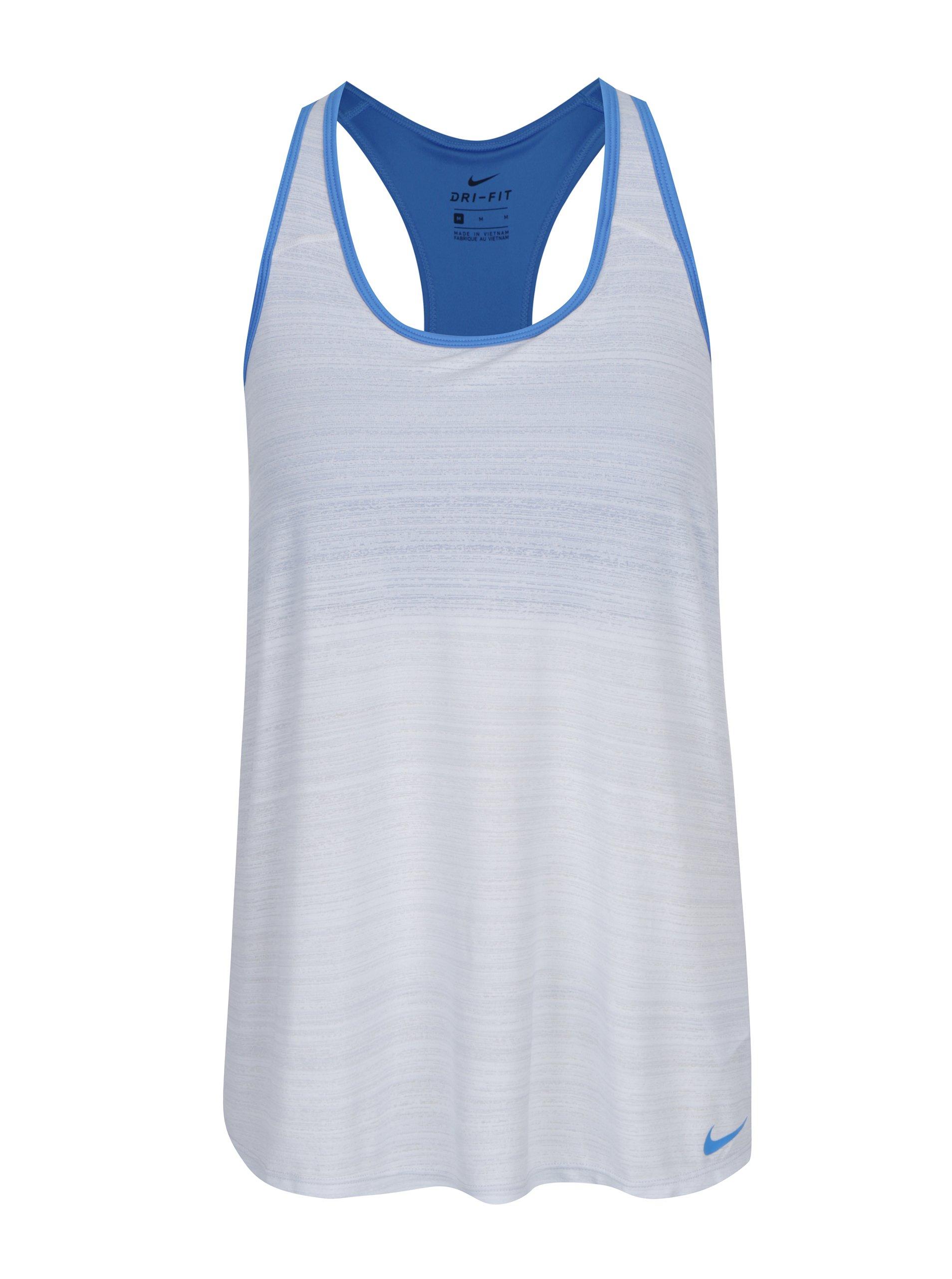 03938a158e8a Modro-krémové dámske funkčné tielko so všitou podprsenkou Nike