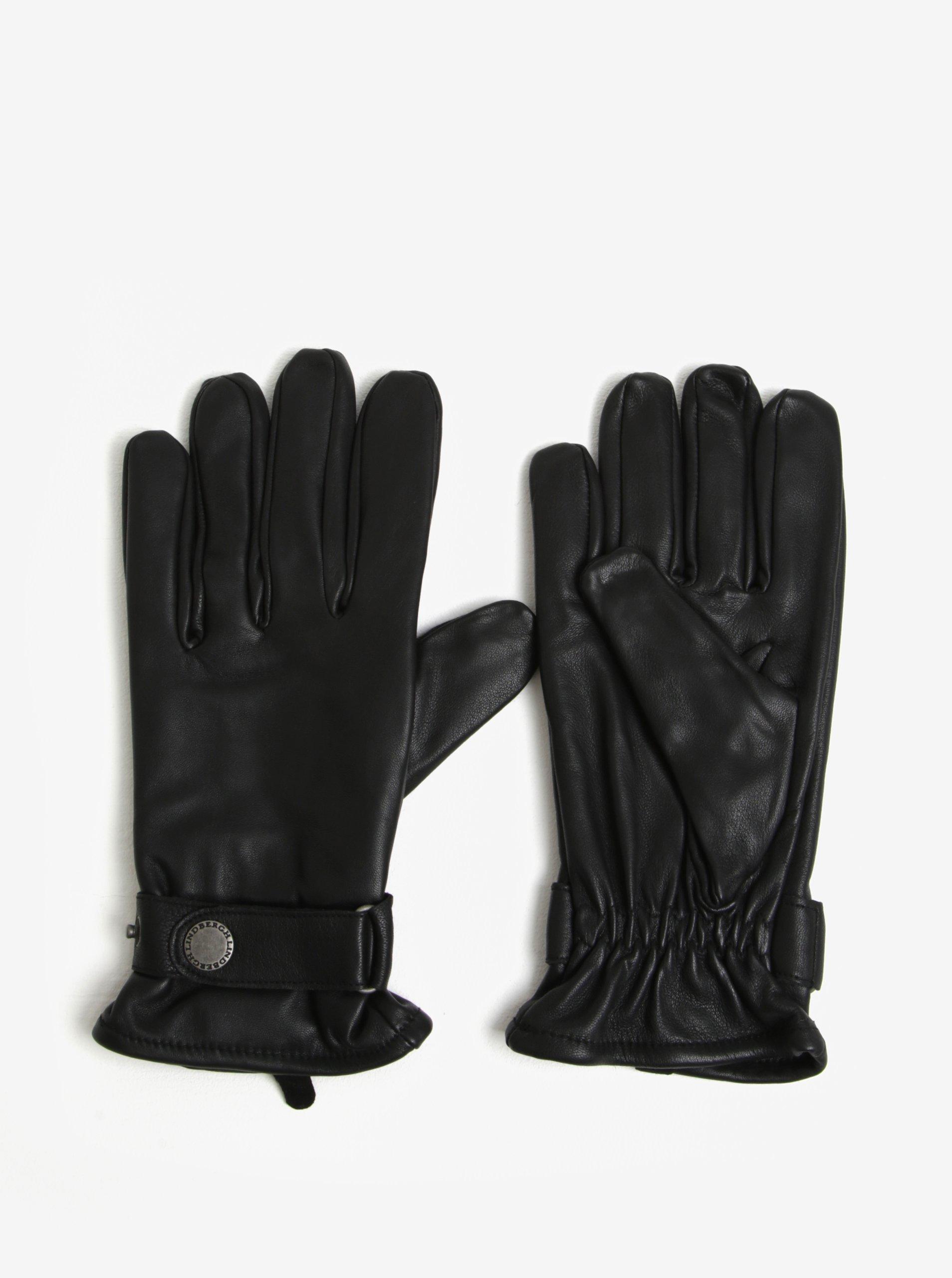 Černé kožené rukavice Lindbergh