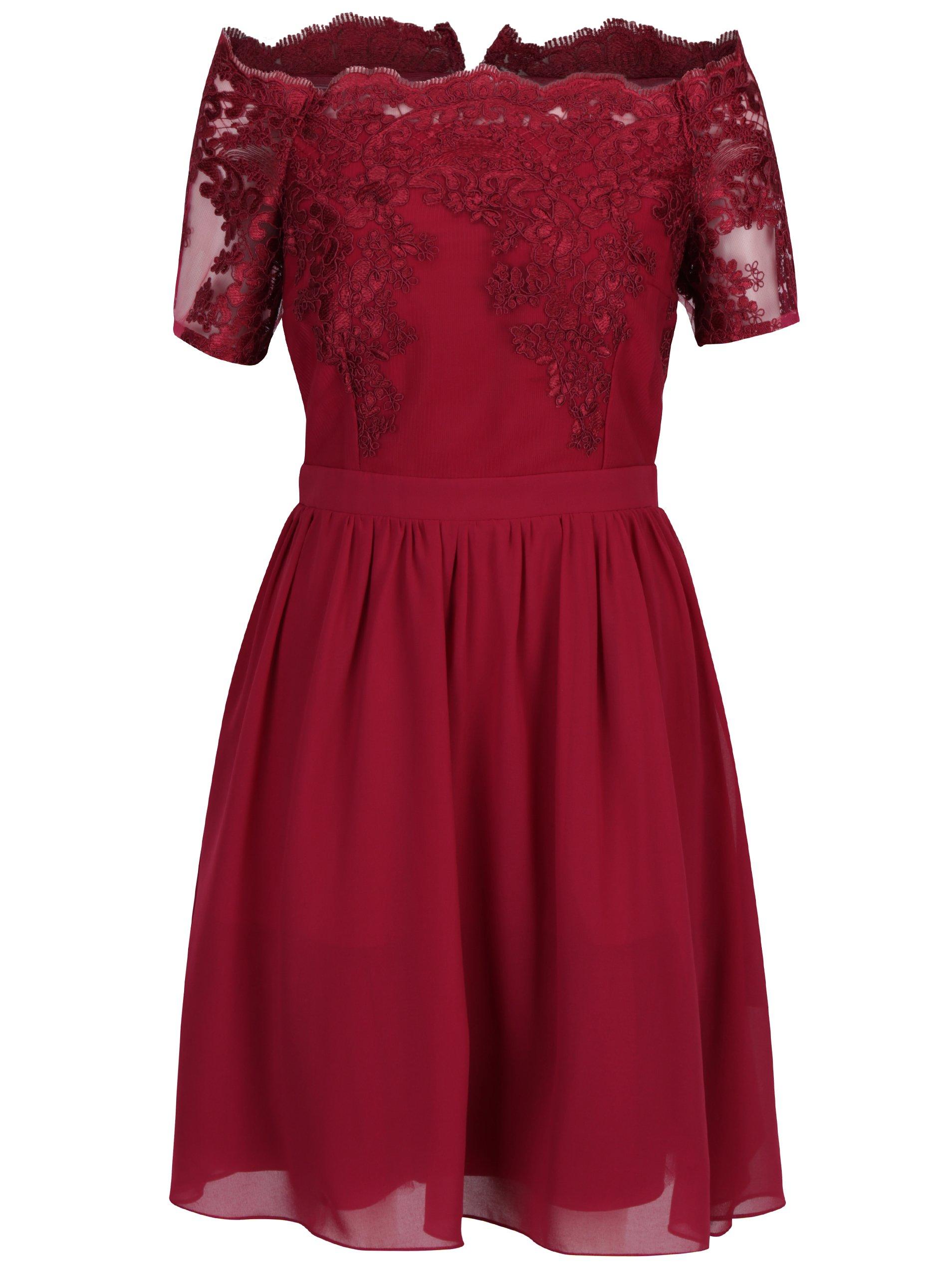 Vínové šaty s čipkovaným topom a odhalenými ramenami Dorothy Perkins