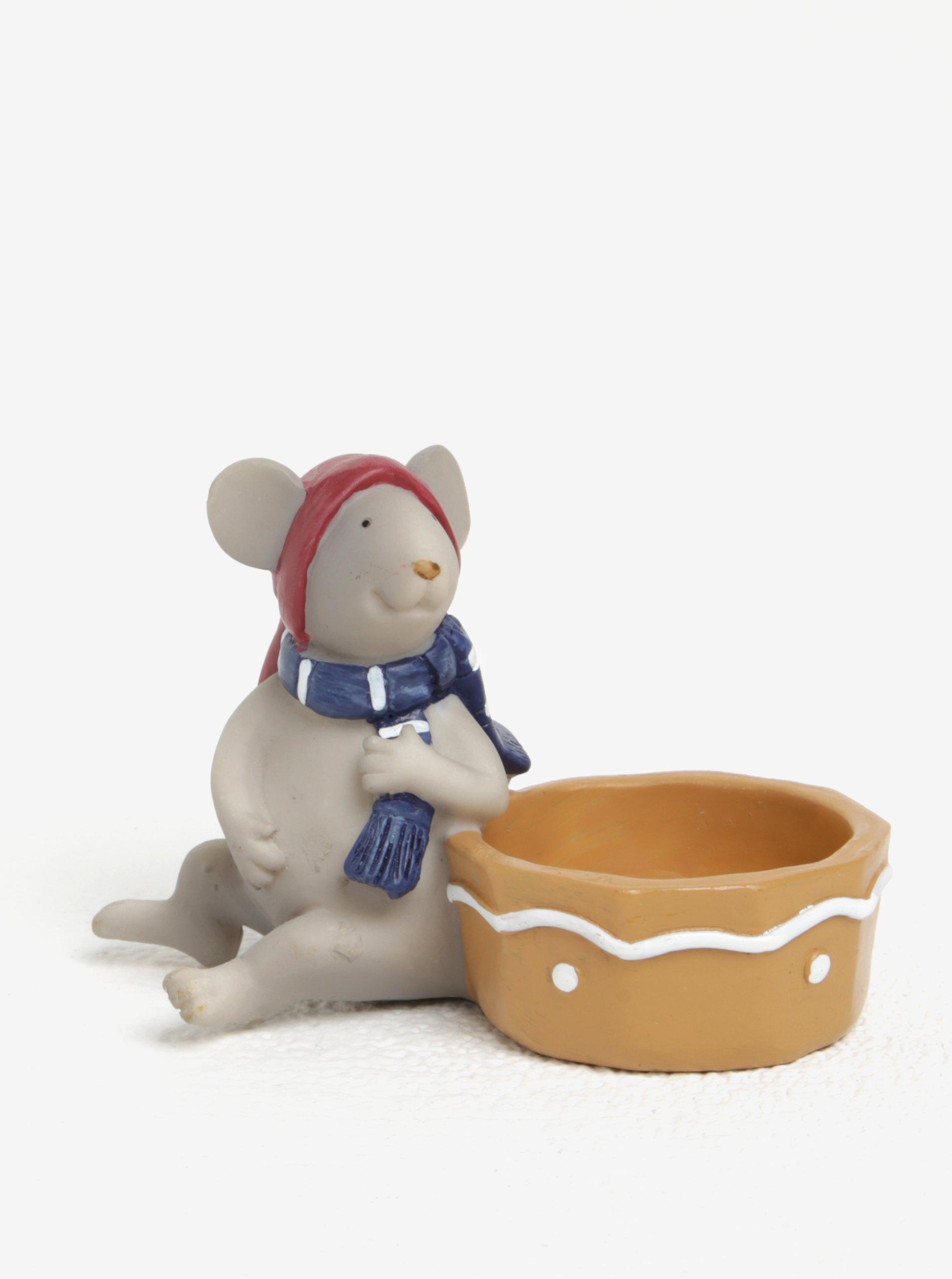 Svícen ve tvaru sedící myšky s červenou čepicí Kaemingk