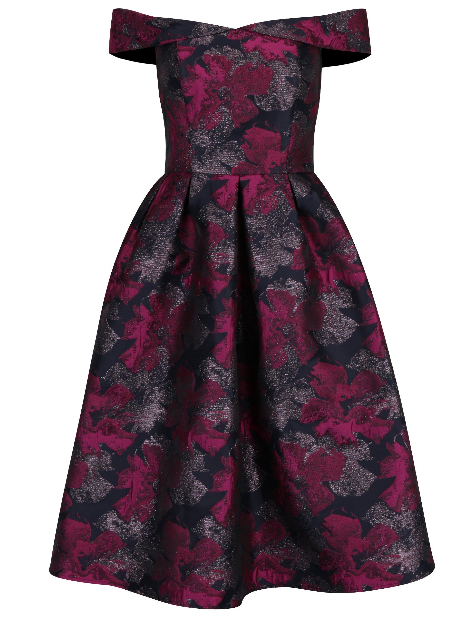 Růžovo-černé květované šaty s odhalenými rameny Dorothy Perkins