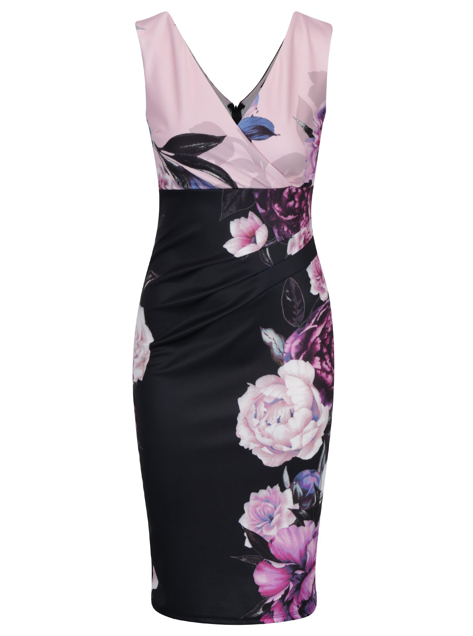Růžovo-černé květované šaty s překládaným výstřihem Scarlett B