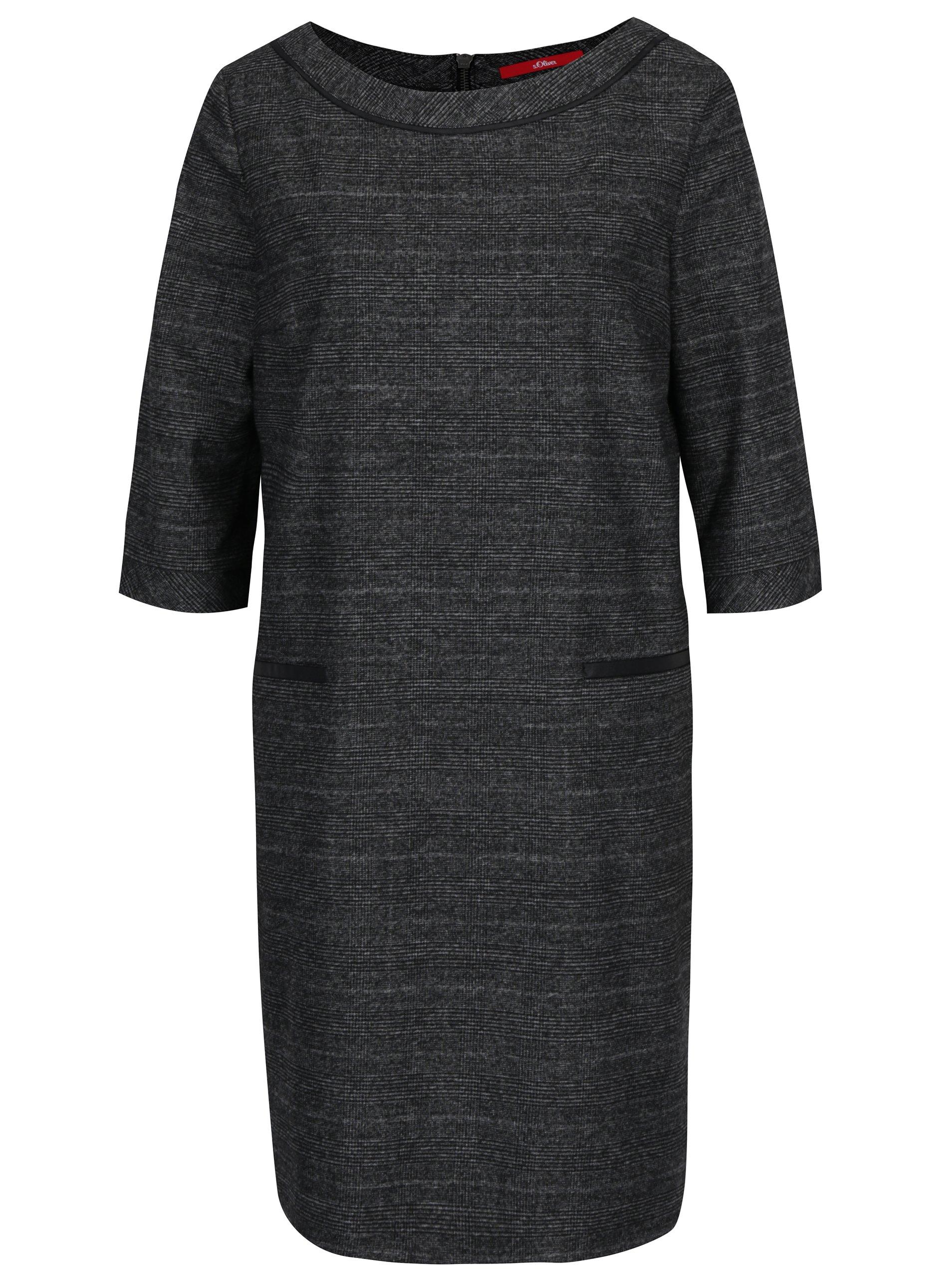 Šedé volné vzorované šaty s 3/4 rukávem s.Oliver