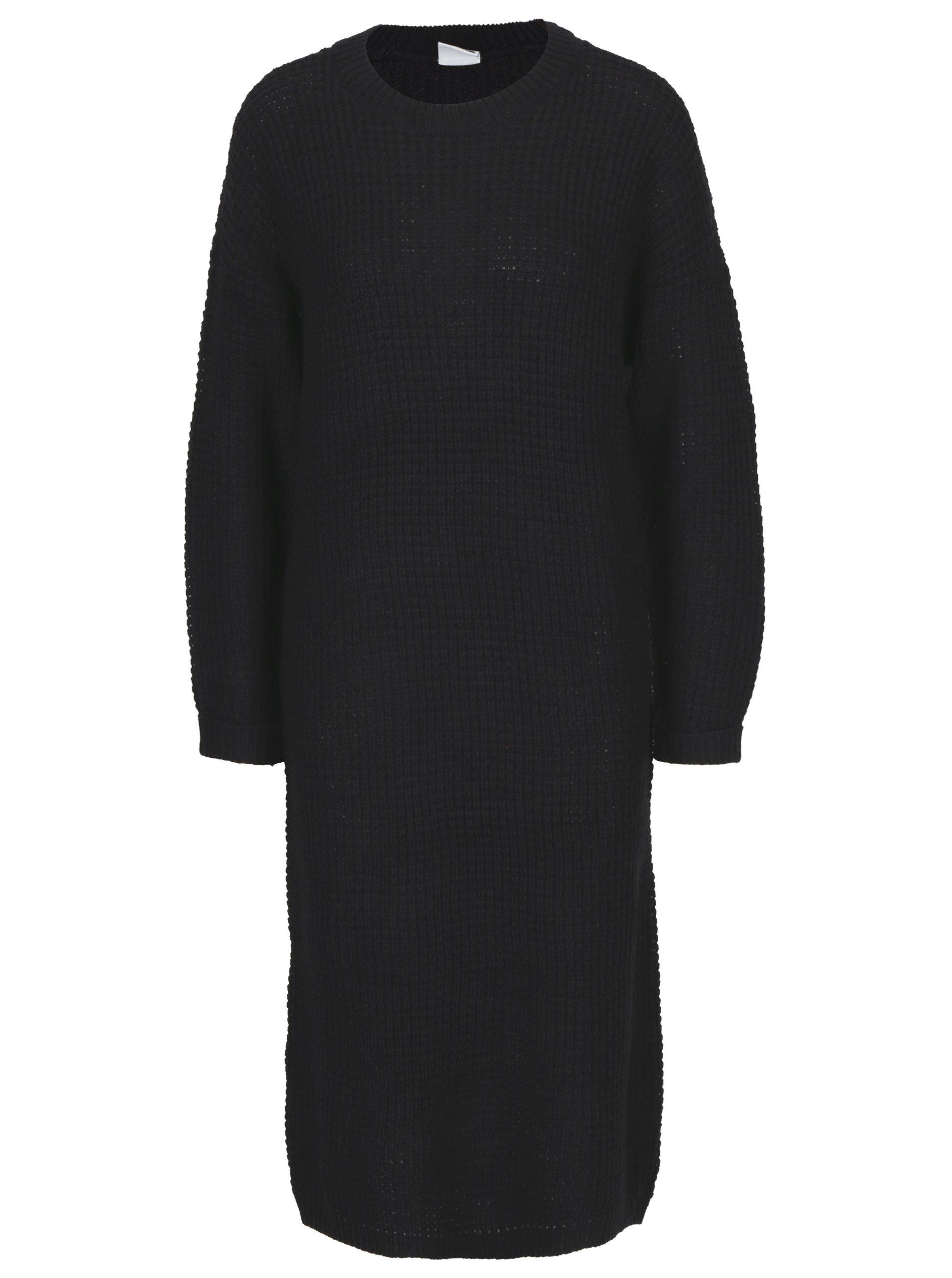 Černé svetrové šaty s dlouhým rukávem Noisy May Loone