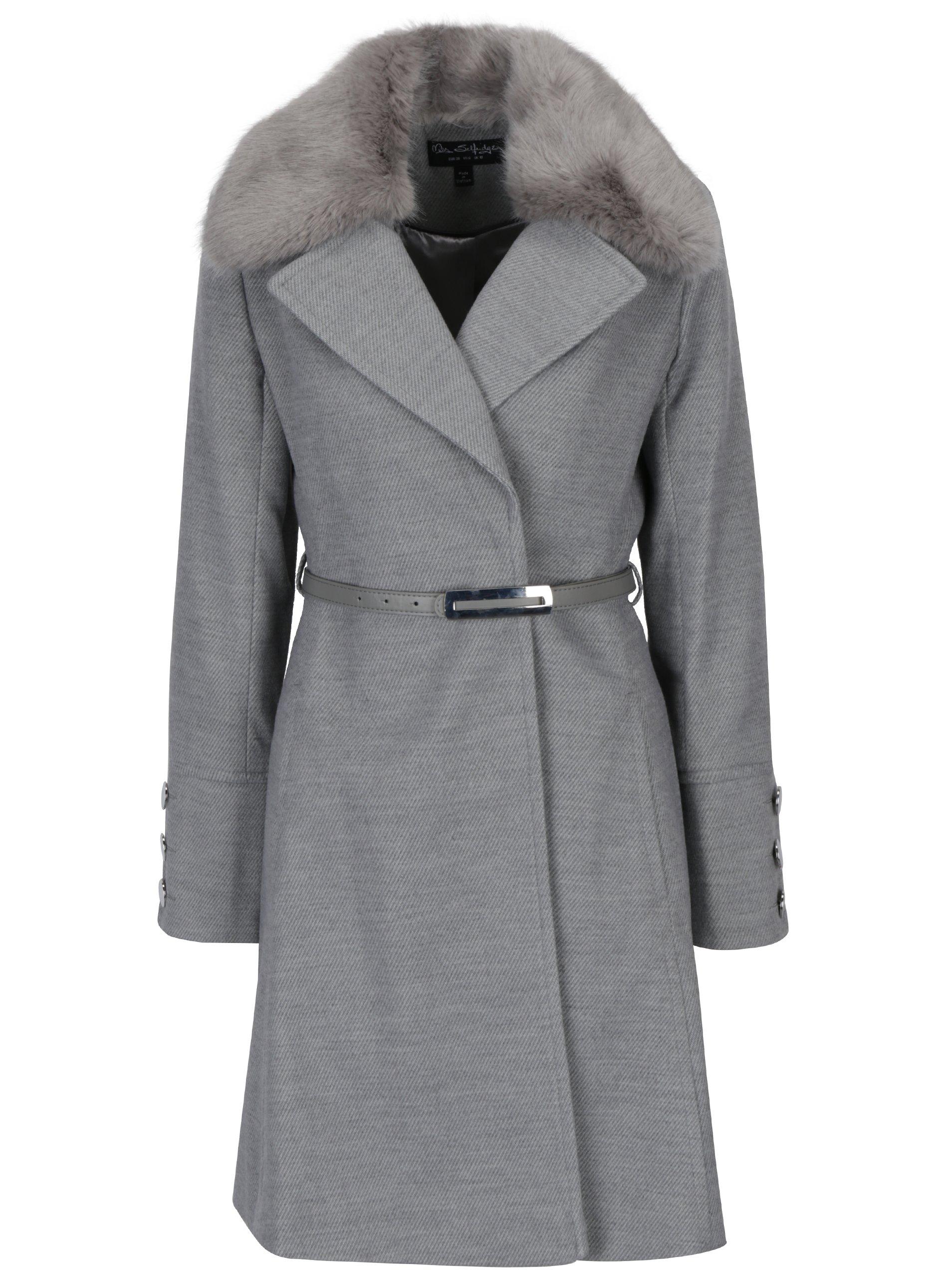 Šedý kabát s páskem a umělým kožíškem Miss Selfridge