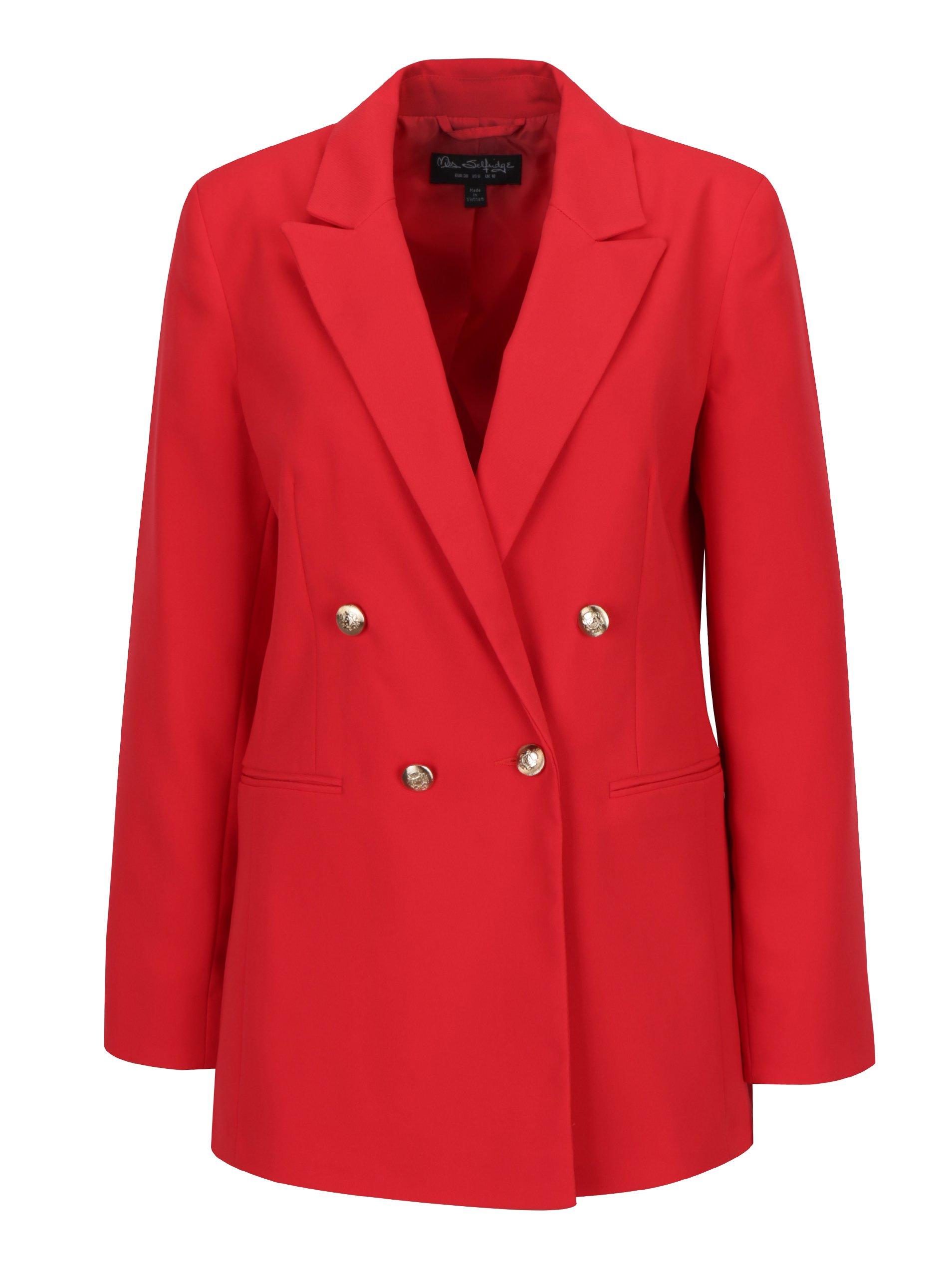Červené dlouhé sako s knoflíky ve zlaté barvě Miss Selfridge
