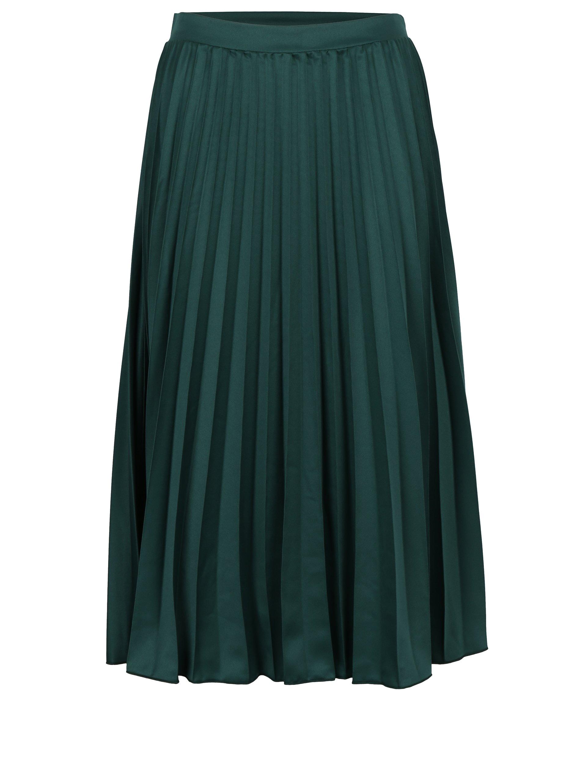 Tmavě zelená plisovaná midi sukně ZOOT
