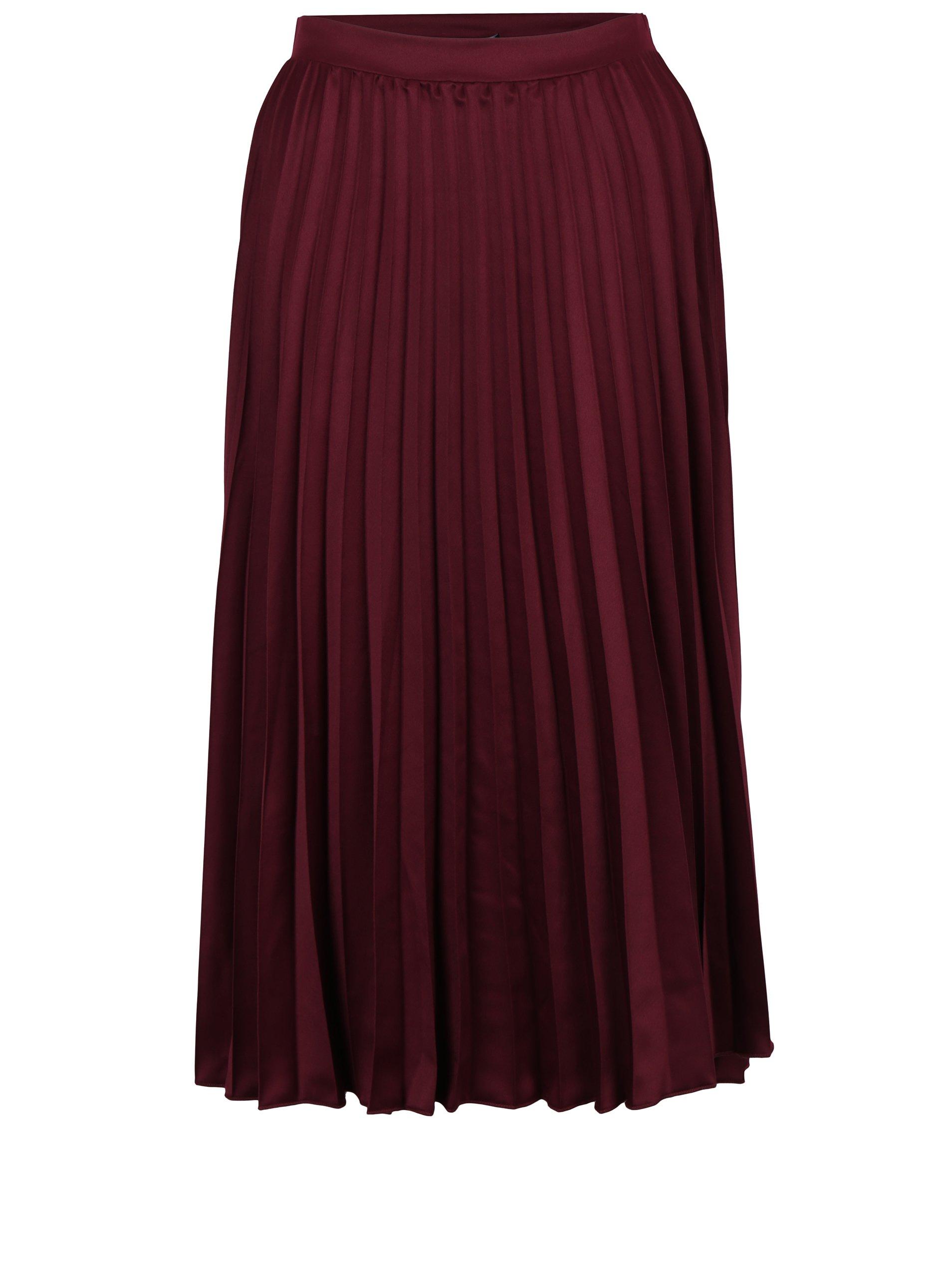 Vínová plisovaná midi sukně ZOOT 84cb28a5cc