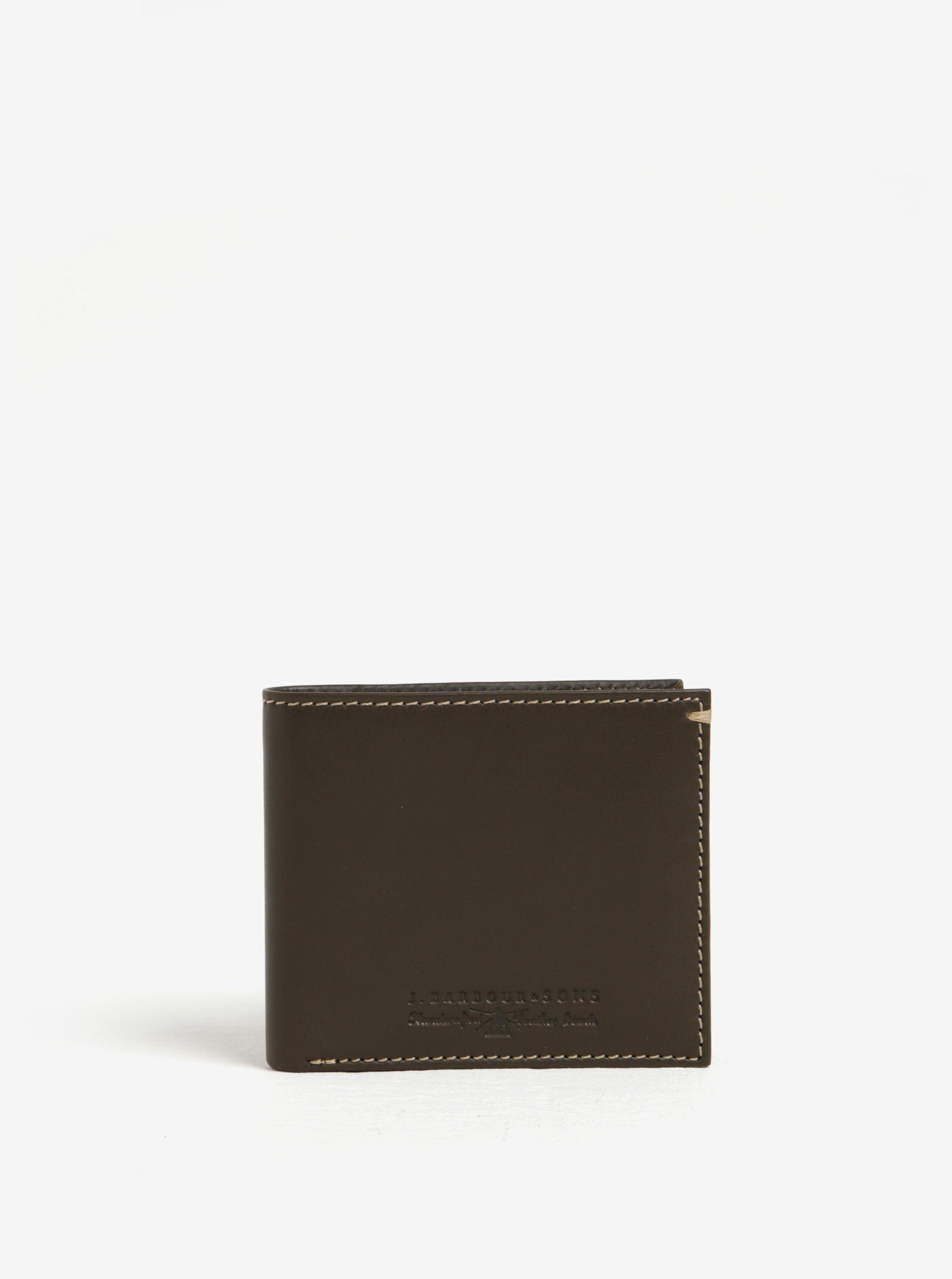 Fotografie Khaki kožená peněženka Barbour Artisan Billfold