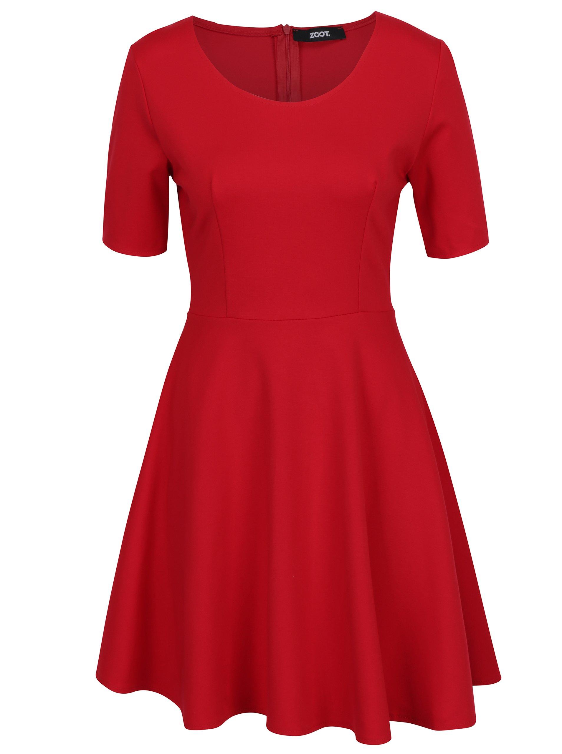 Červené šaty s áčkovou sukňou ZOOT