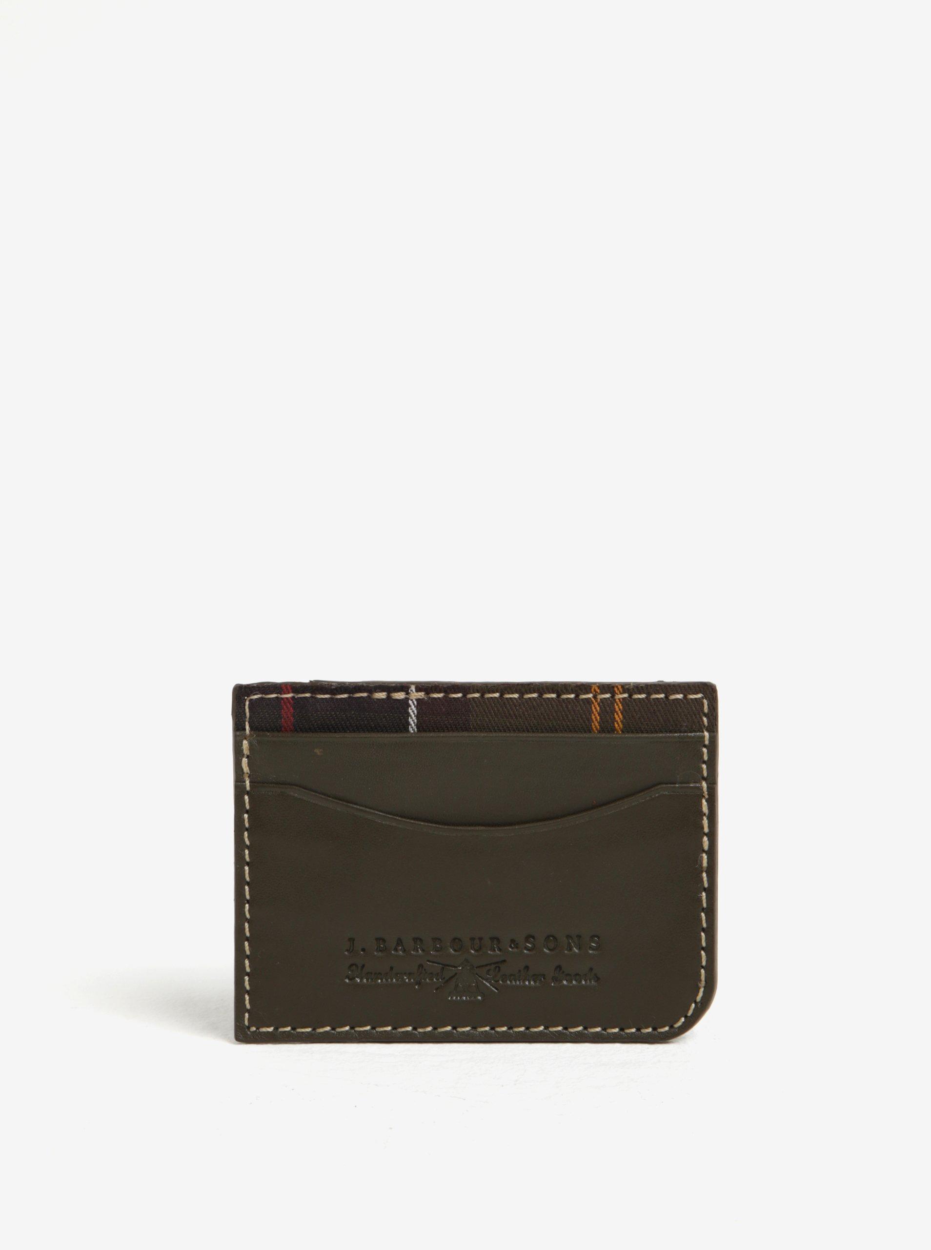 Khaki kožené pouzdro na karty Barbour Artisan