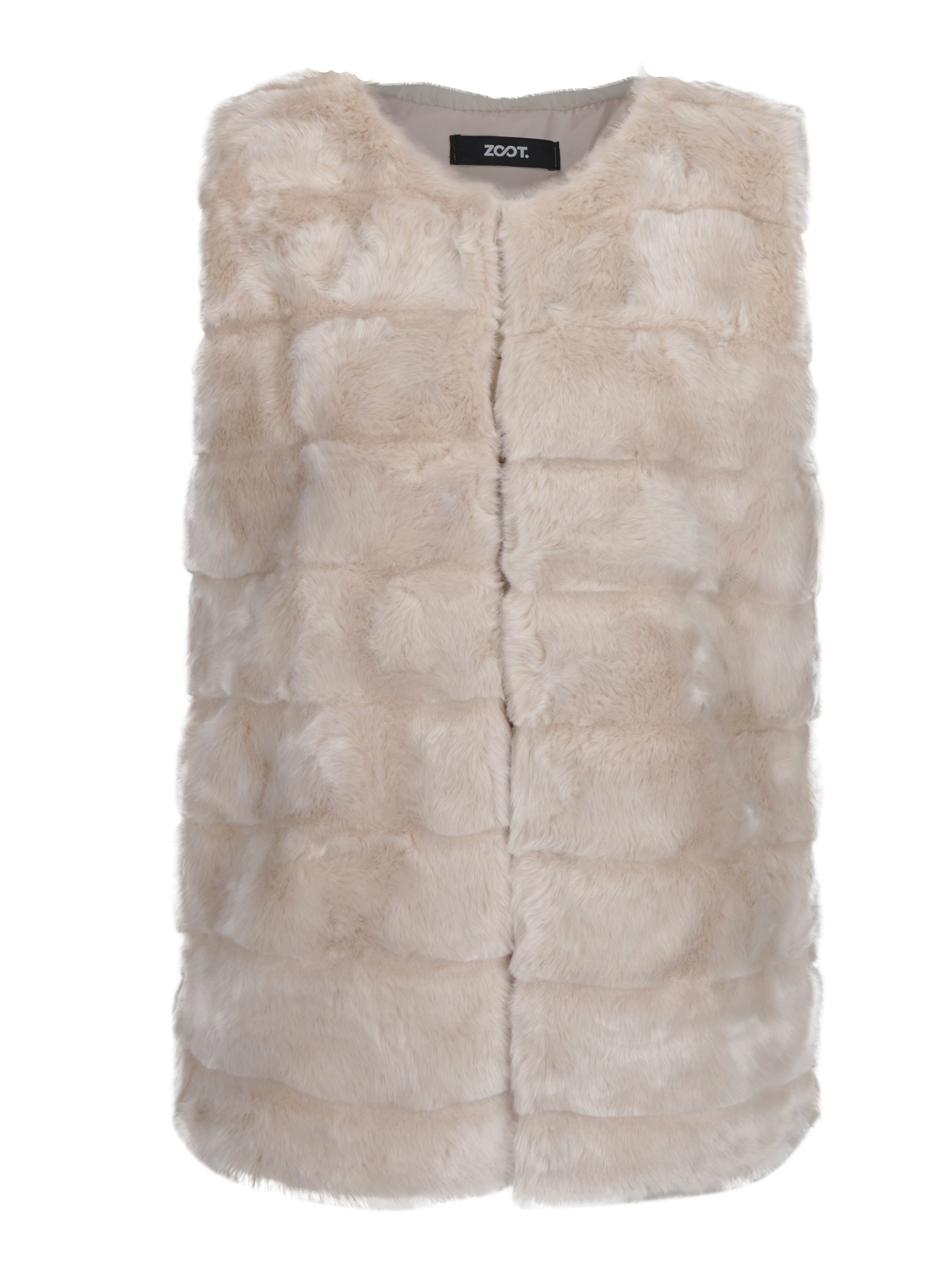 Krémová prošívaná vesta z umělé kožešiny ZOOT