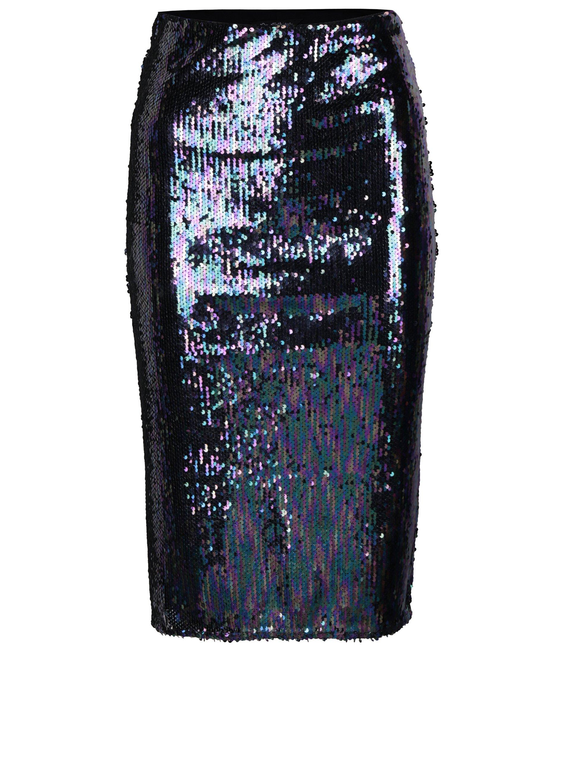 Čierno–fialová puzdrová sukňa s flitrami Miss Selfridge