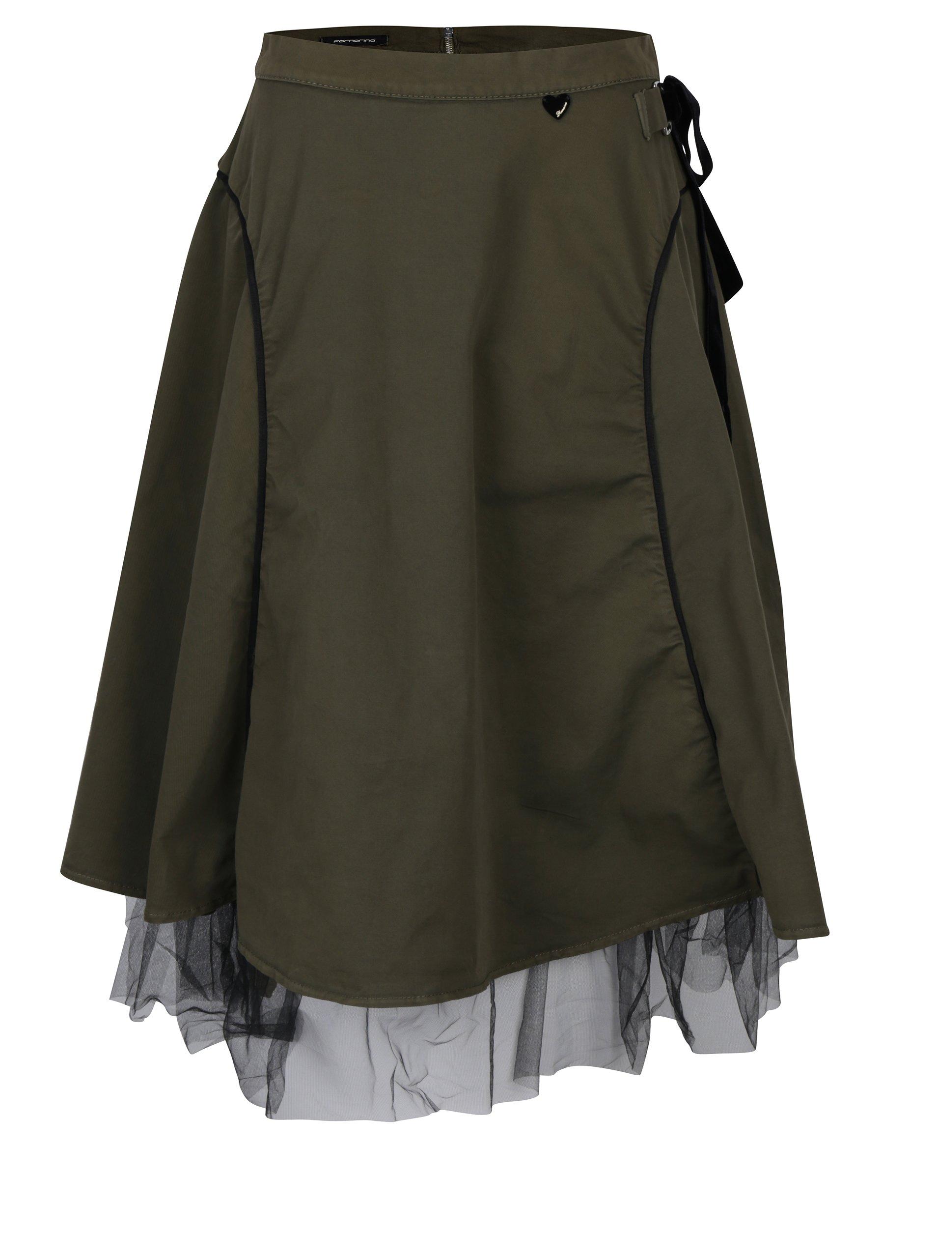 Khaki sukně s všitým tylovým lemem Fornarina Helsie