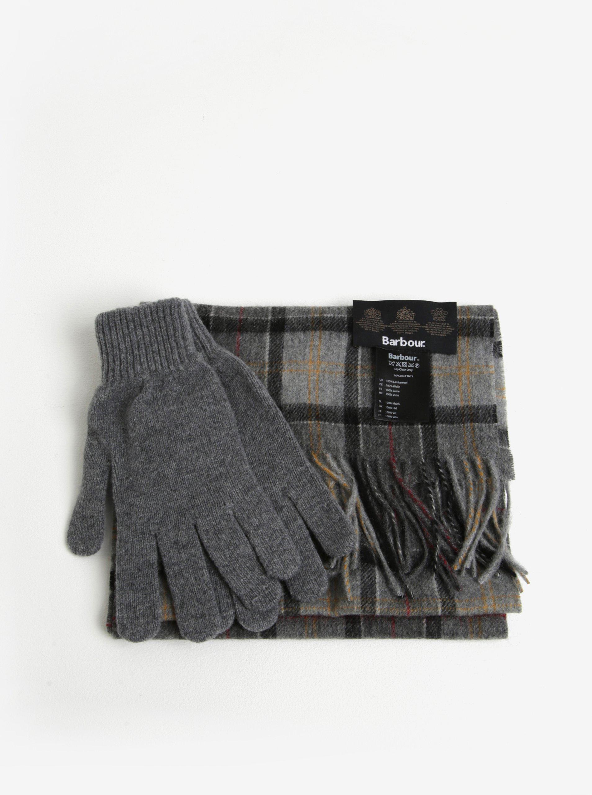 Dárkový set vlněných rukavic a šály v šedé barvě Barbour Gift Box