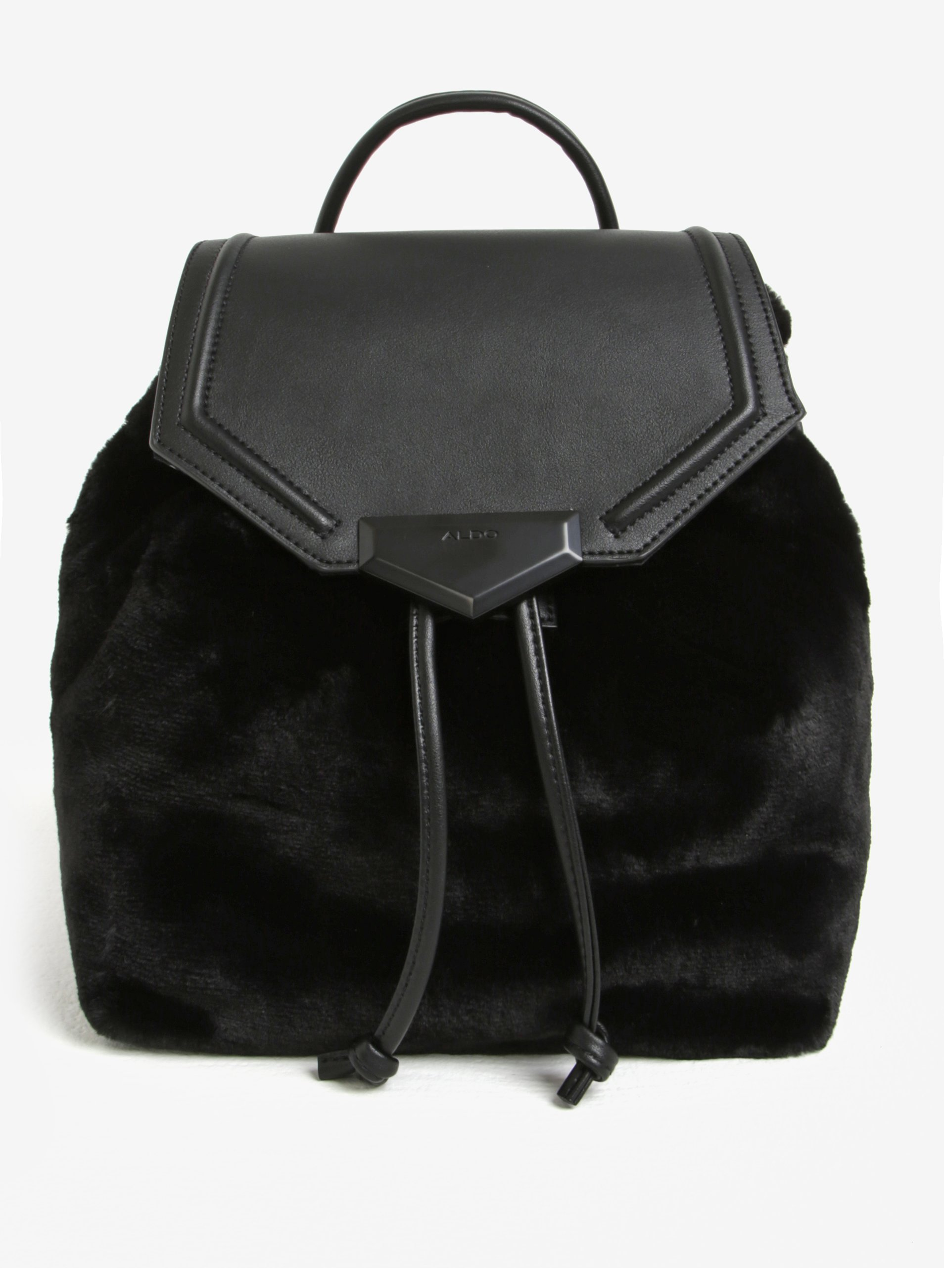 Čierny batoh s umelou kožušinou ALDO Gazzone