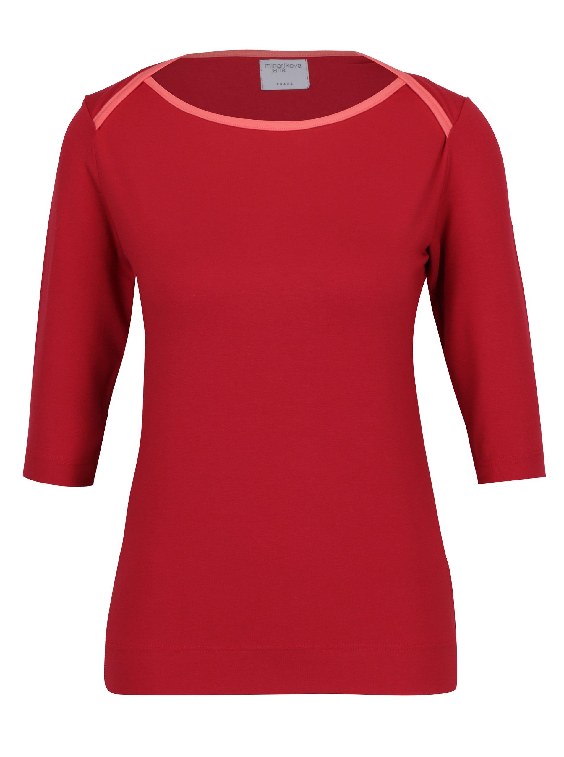 Červené tričko s lodičkovým výstřihem Jana Minaříková
