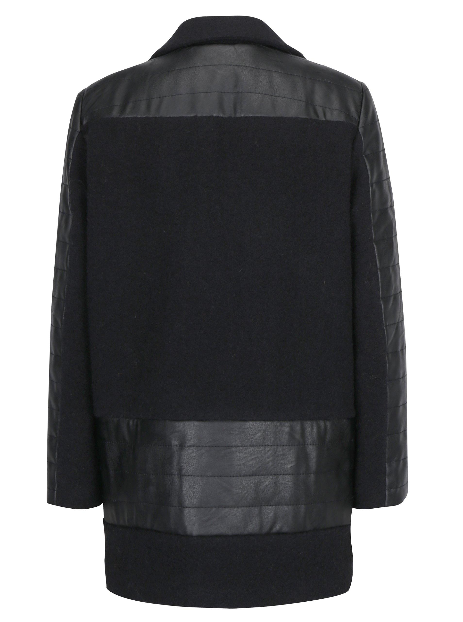 Černý zimní vlněný kabát Kvinna - eleganter.cz 1f6a45af511