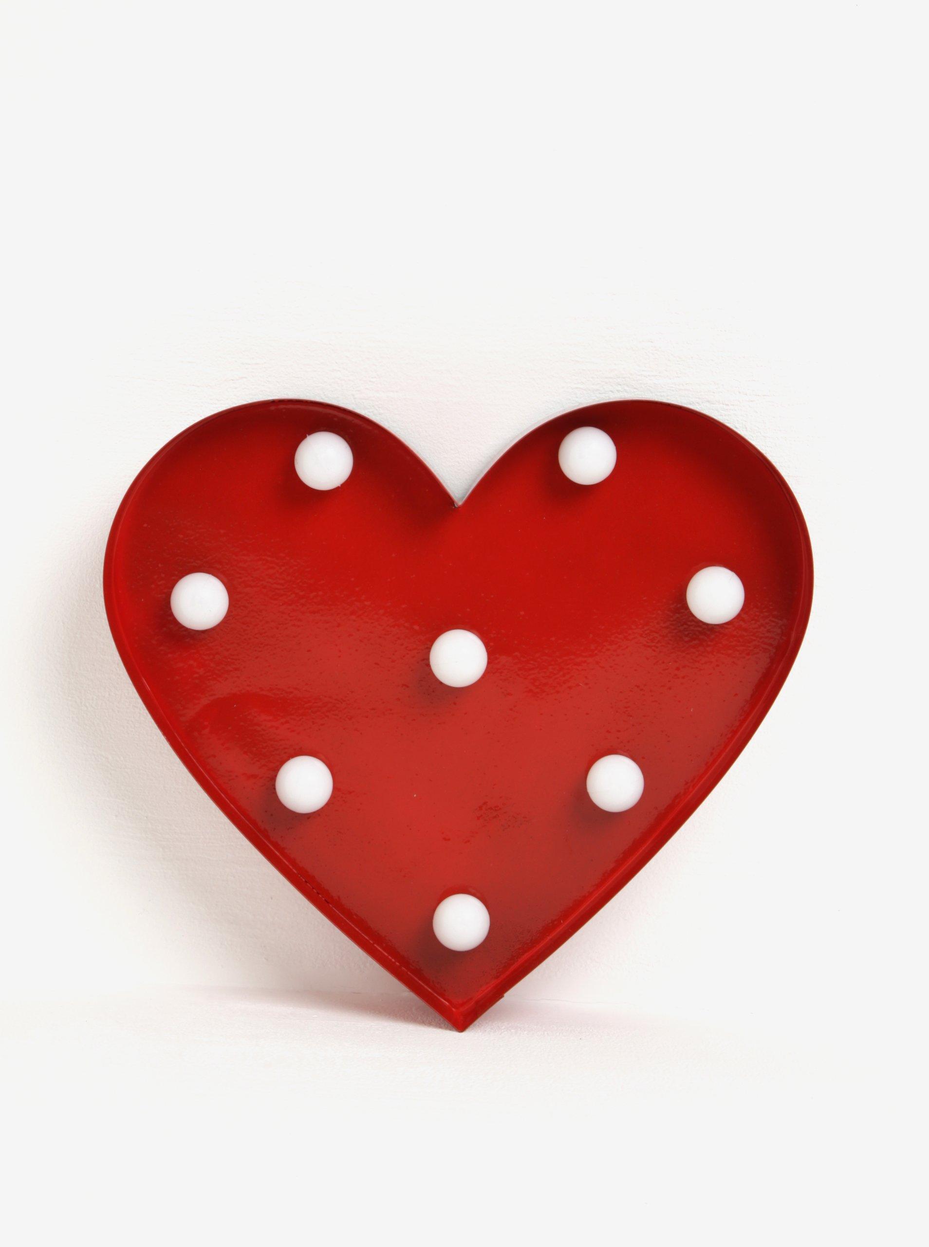 Červené nástěnné LED světlo ve tvaru srdce Sass & Belle