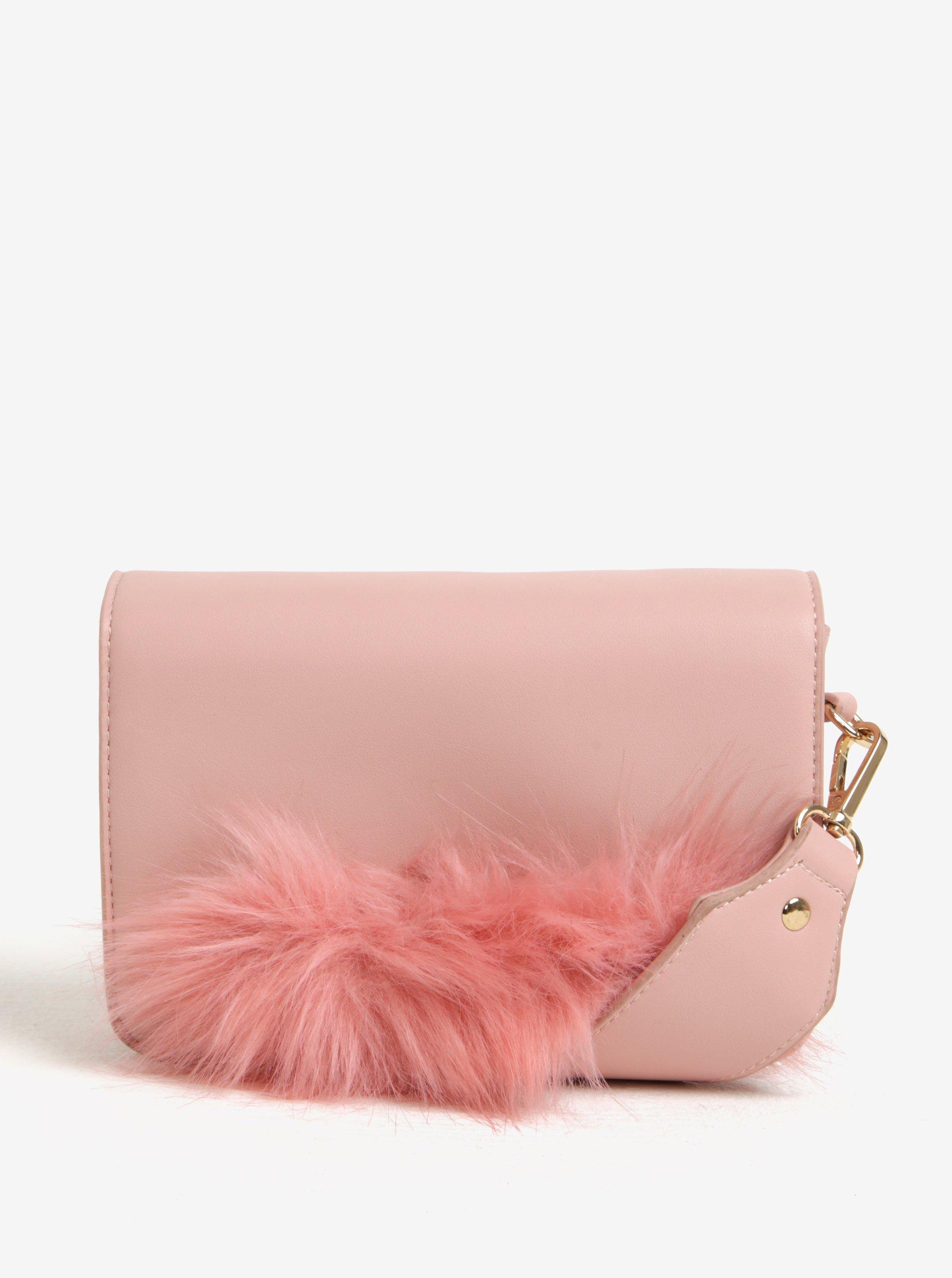 Růžová malá kabelka s detailem z umělé kožešiny Pieces Ake