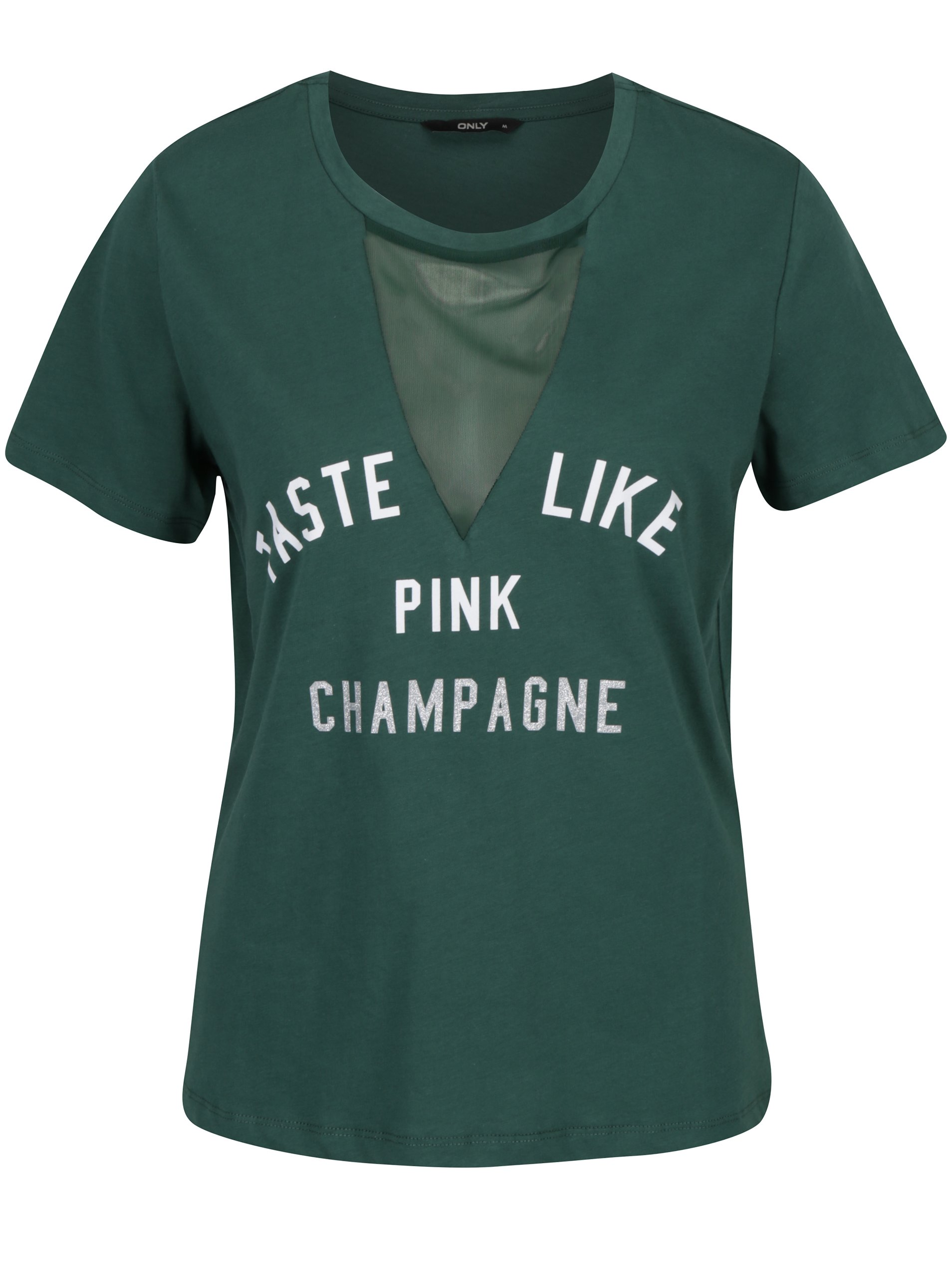 Zelené tričko s potiskem a průsvitným dekoltem ONLY Champagne