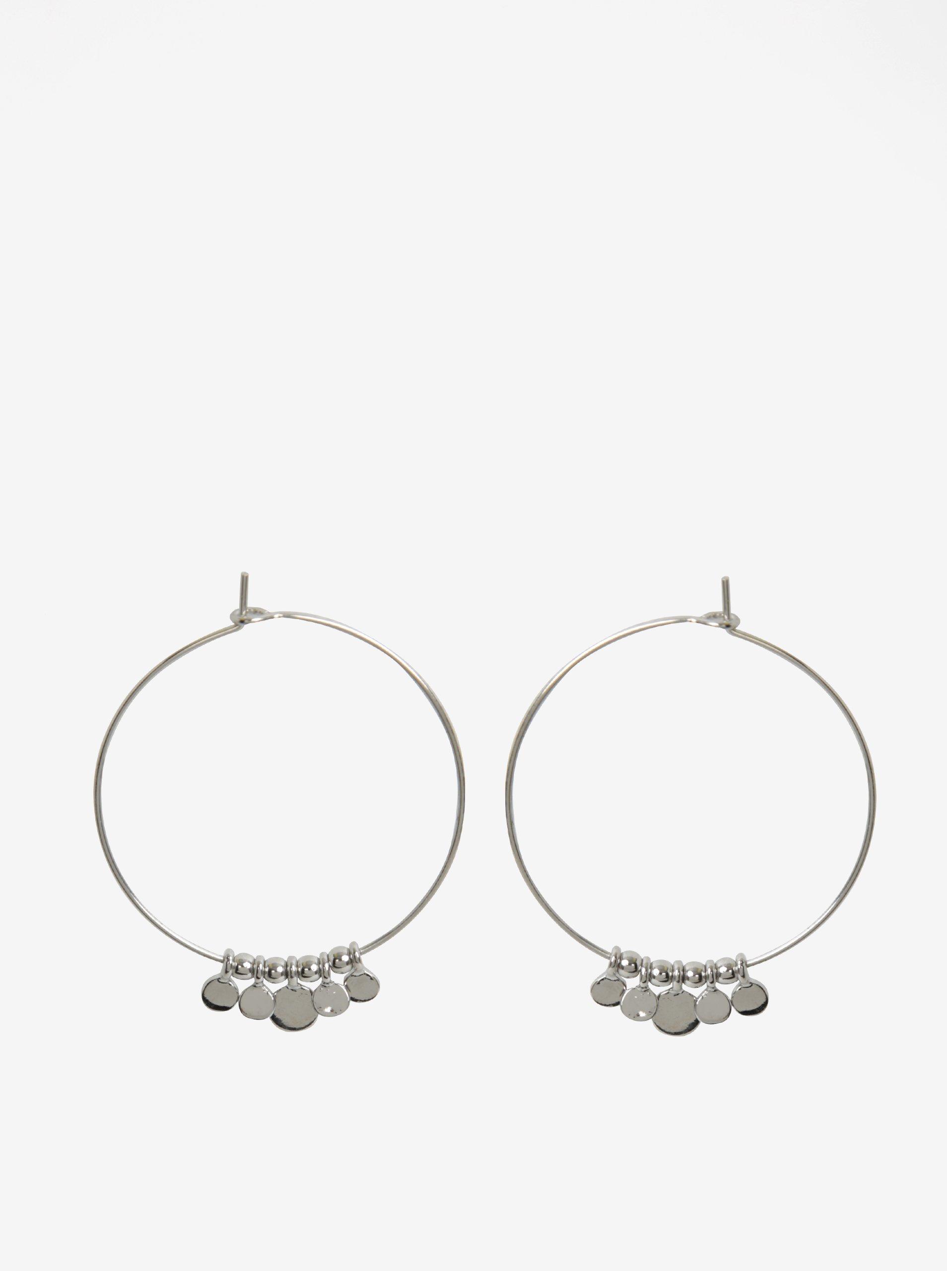 Kruhové náušnice s přívěsky ve stříbrné barvě Pieces Valeria